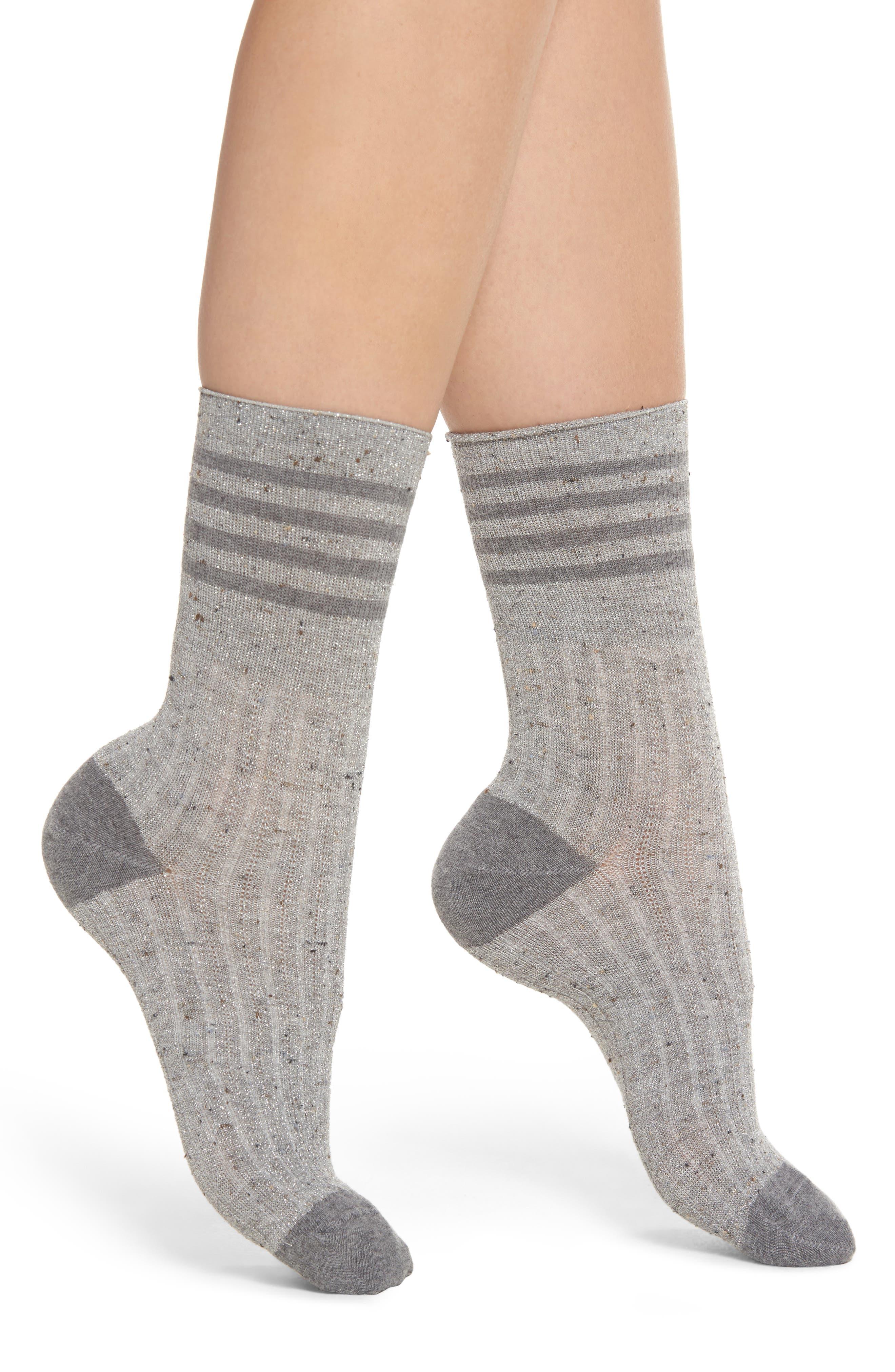 Metallic Tweed Rugby Stripe Crew Socks,                         Main,                         color, 020