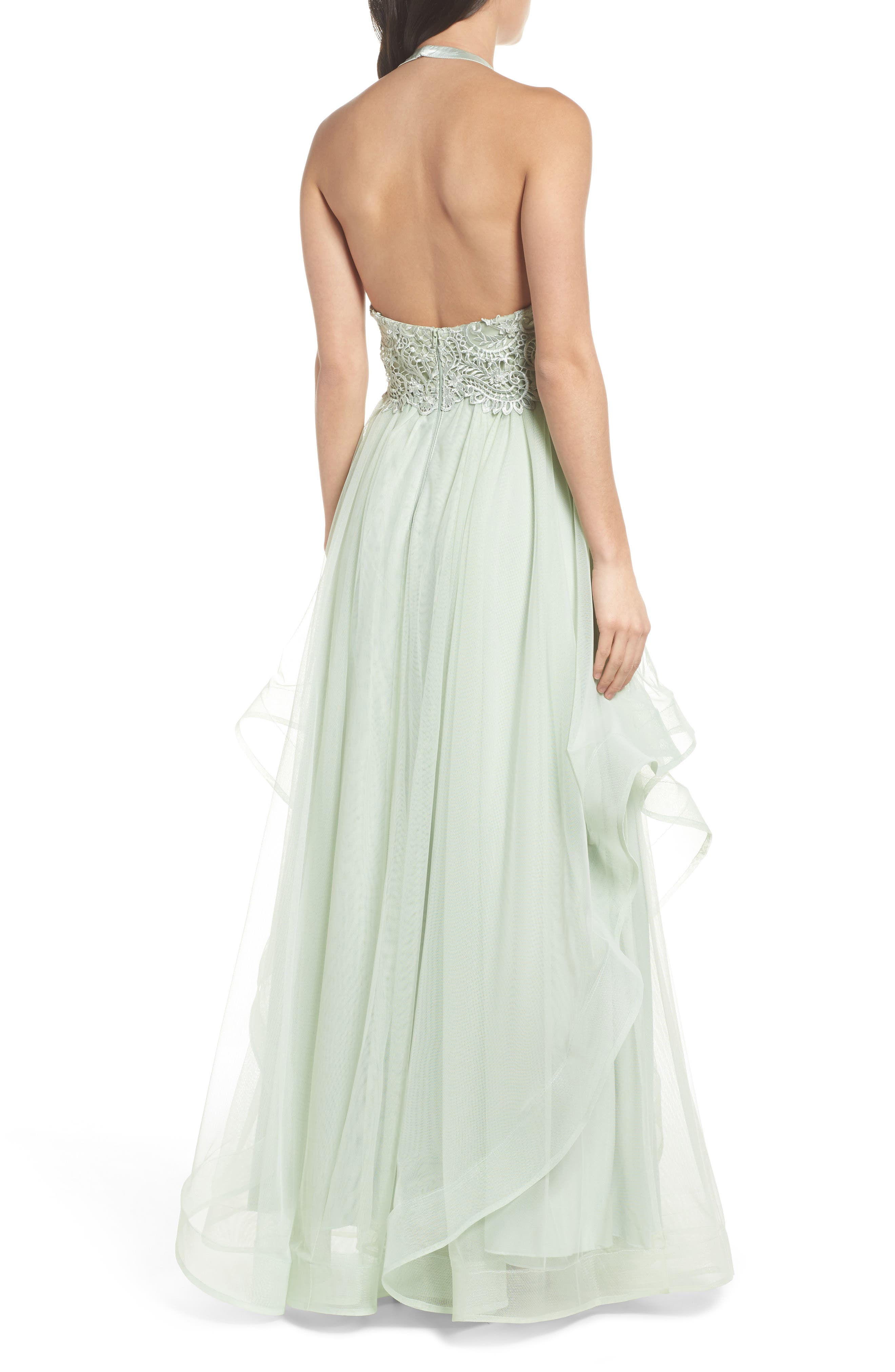 Embroidered Halter Gown,                             Alternate thumbnail 2, color,                             SAGE