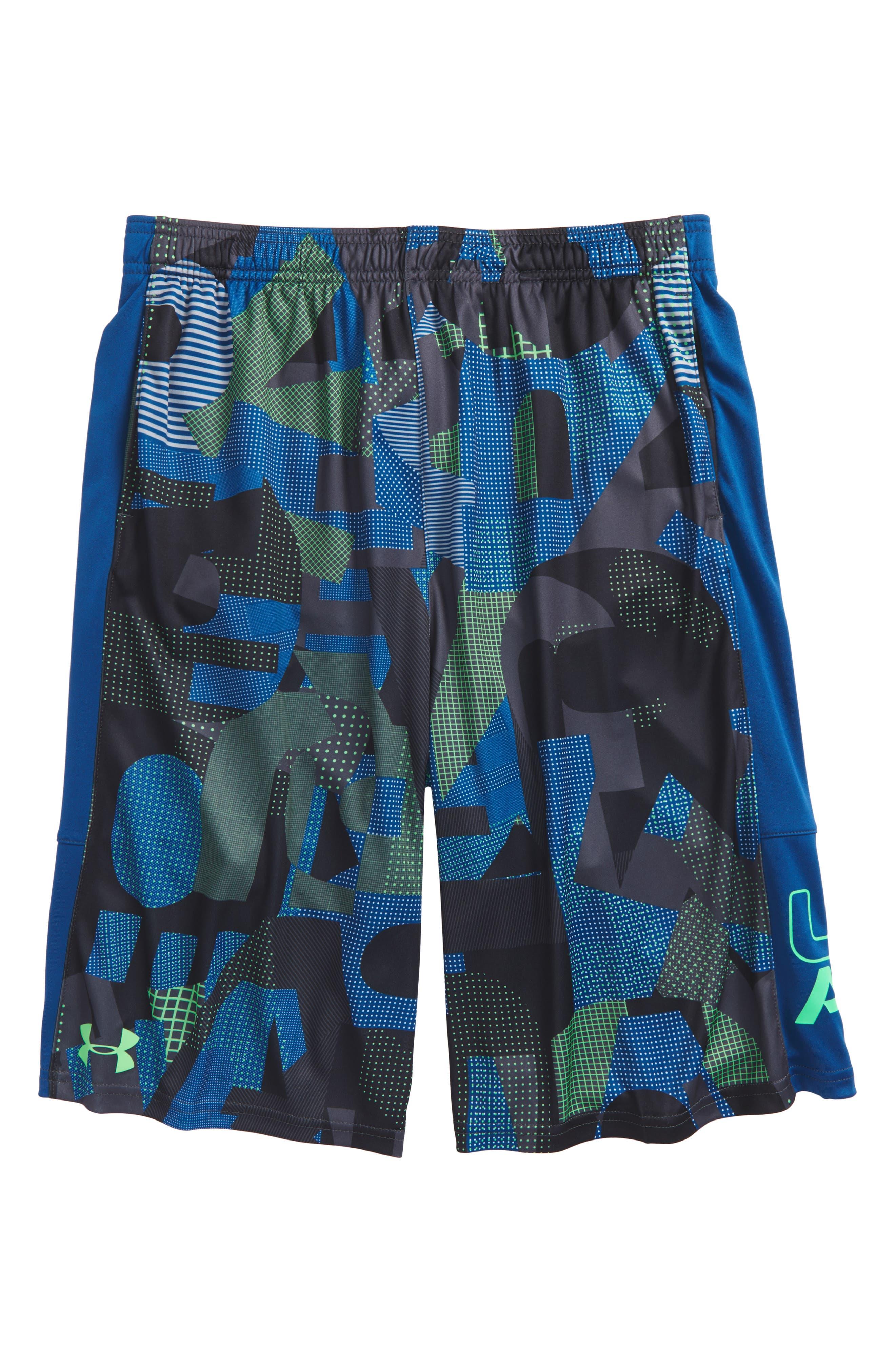 Stunt HeatGear<sup>®</sup> Shorts,                             Main thumbnail 1, color,                             ARENA GREEN/ MOROCCAN BLUE