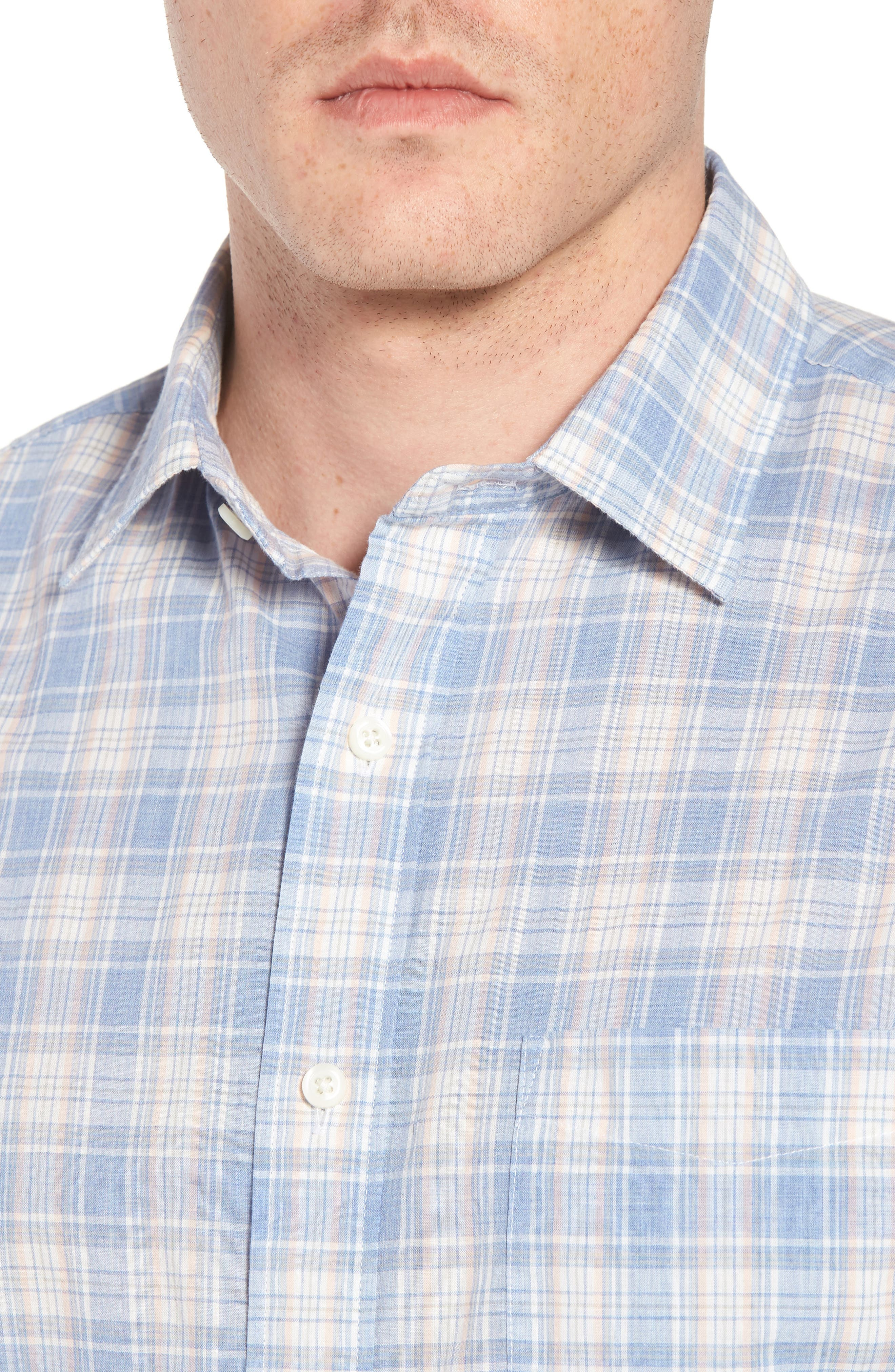 Ventura Plaid Sport Shirt,                             Alternate thumbnail 4, color,                             BLUE CORAL GREY