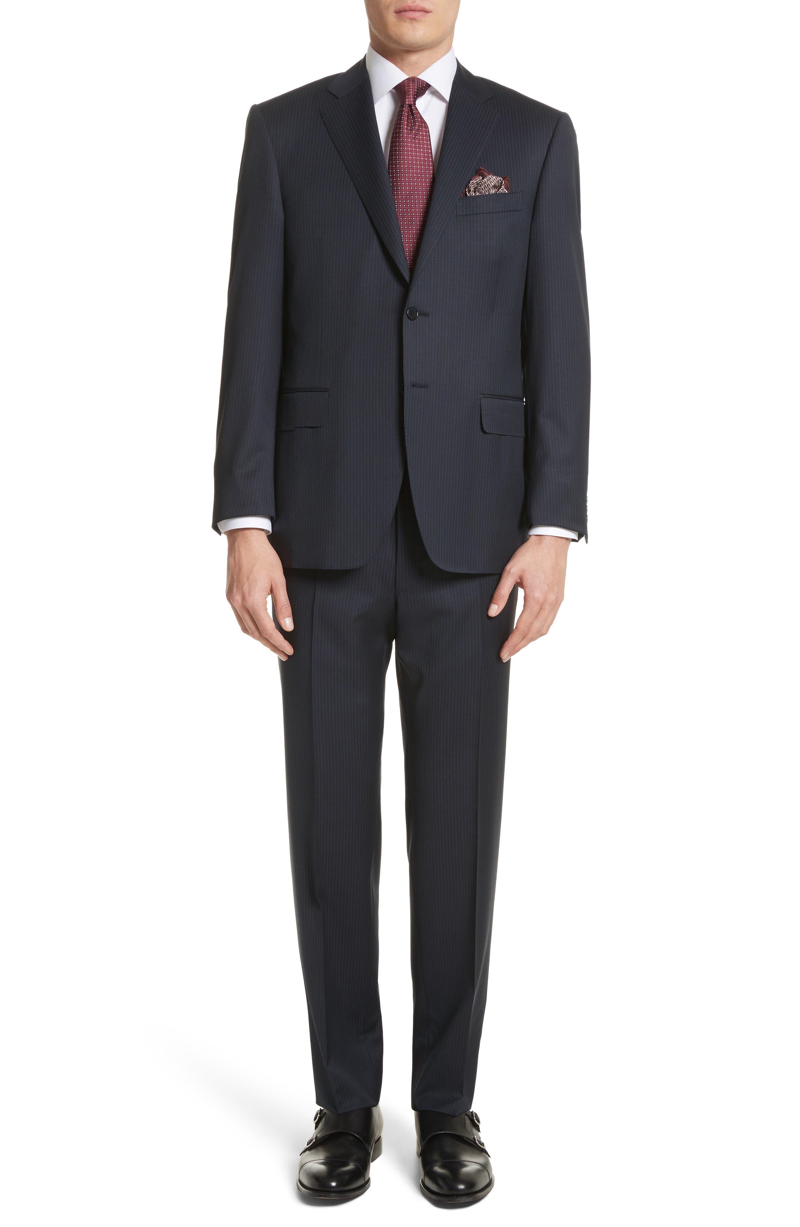 Classic Fit Stripe Wool Suit,                             Main thumbnail 1, color,                             410