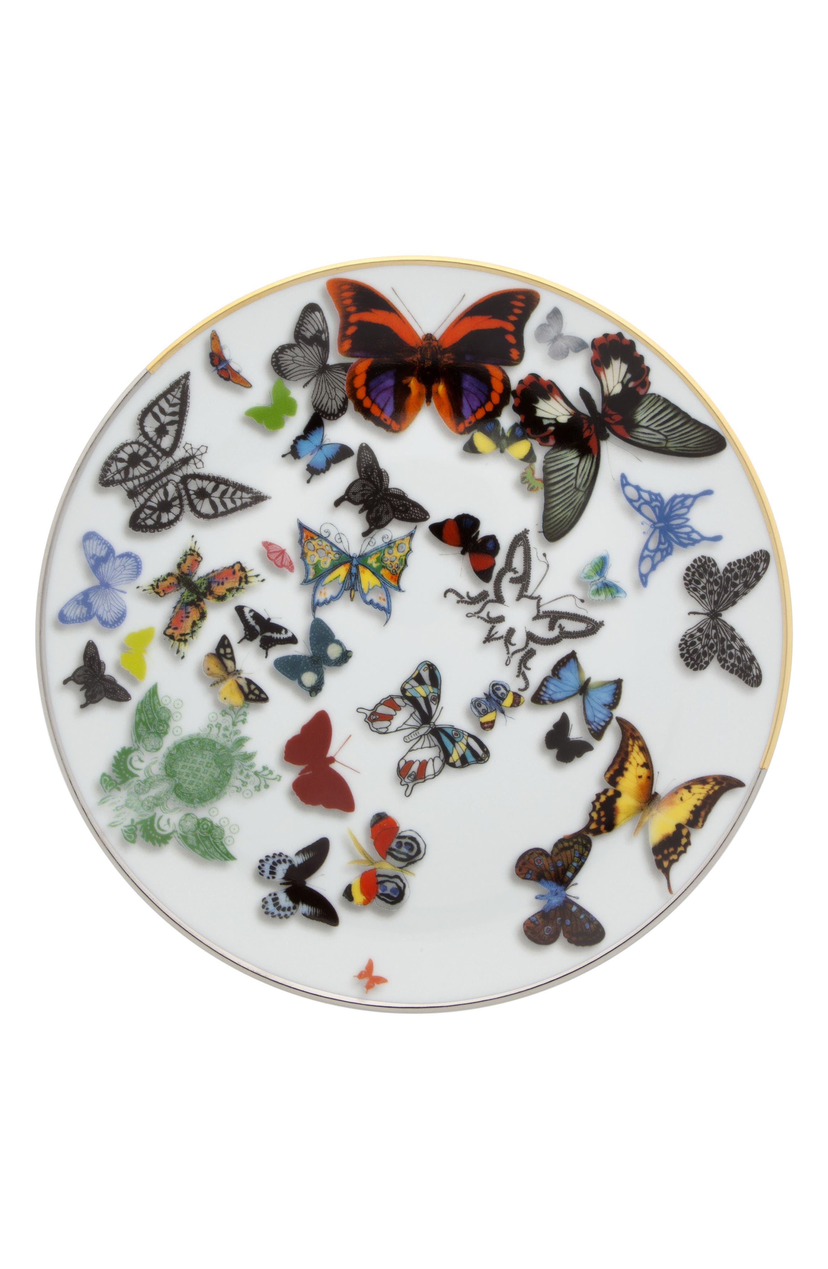Butterfly Dessert Plate, Main, color, WHITE
