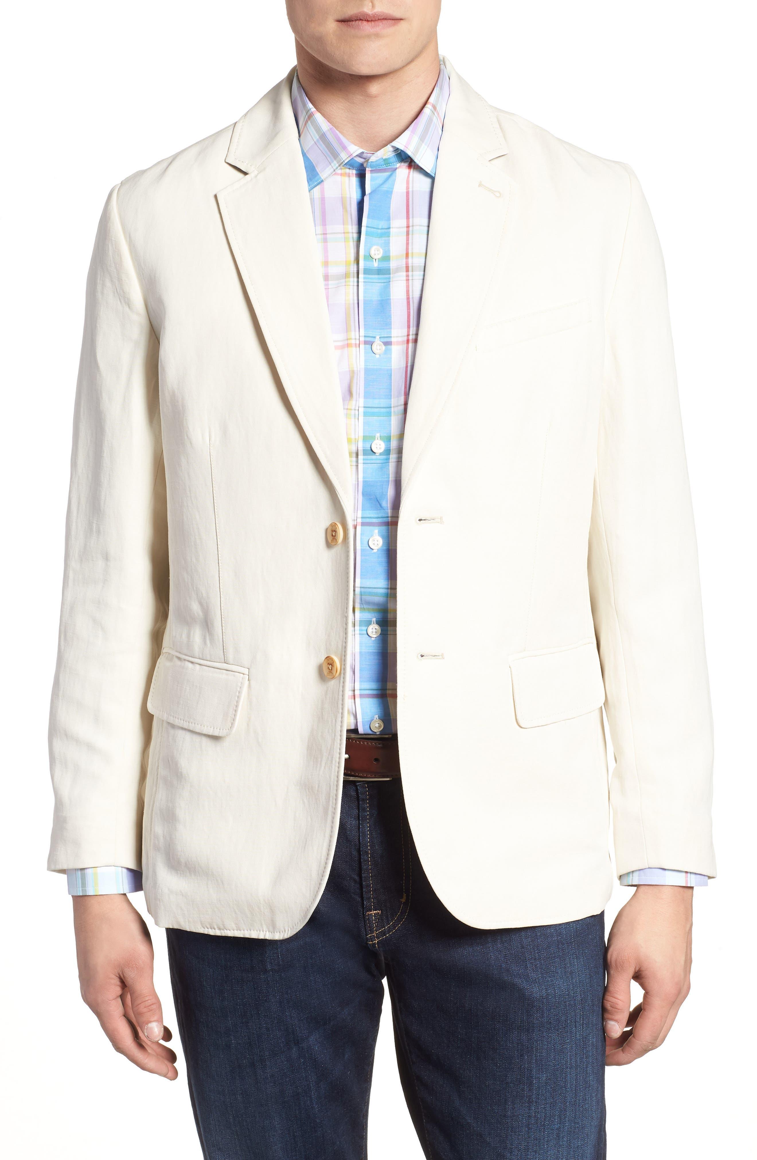 TOMMY BAHAMA Monterey Silk & Linen Blazer, Main, color, WARM SAND