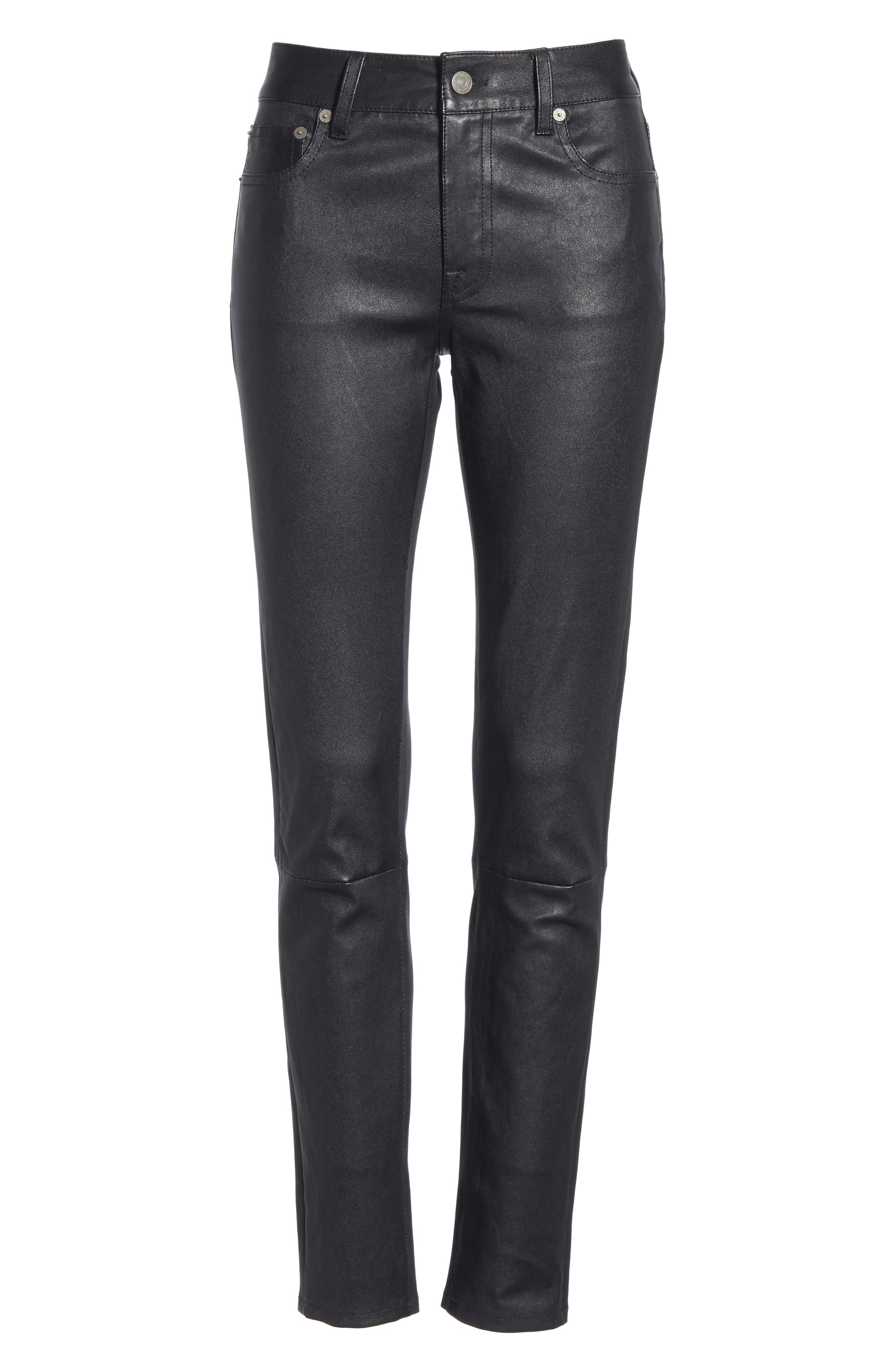 Five Pocket Leather Skinny Pants,                             Alternate thumbnail 6, color,                             POLO BLACK
