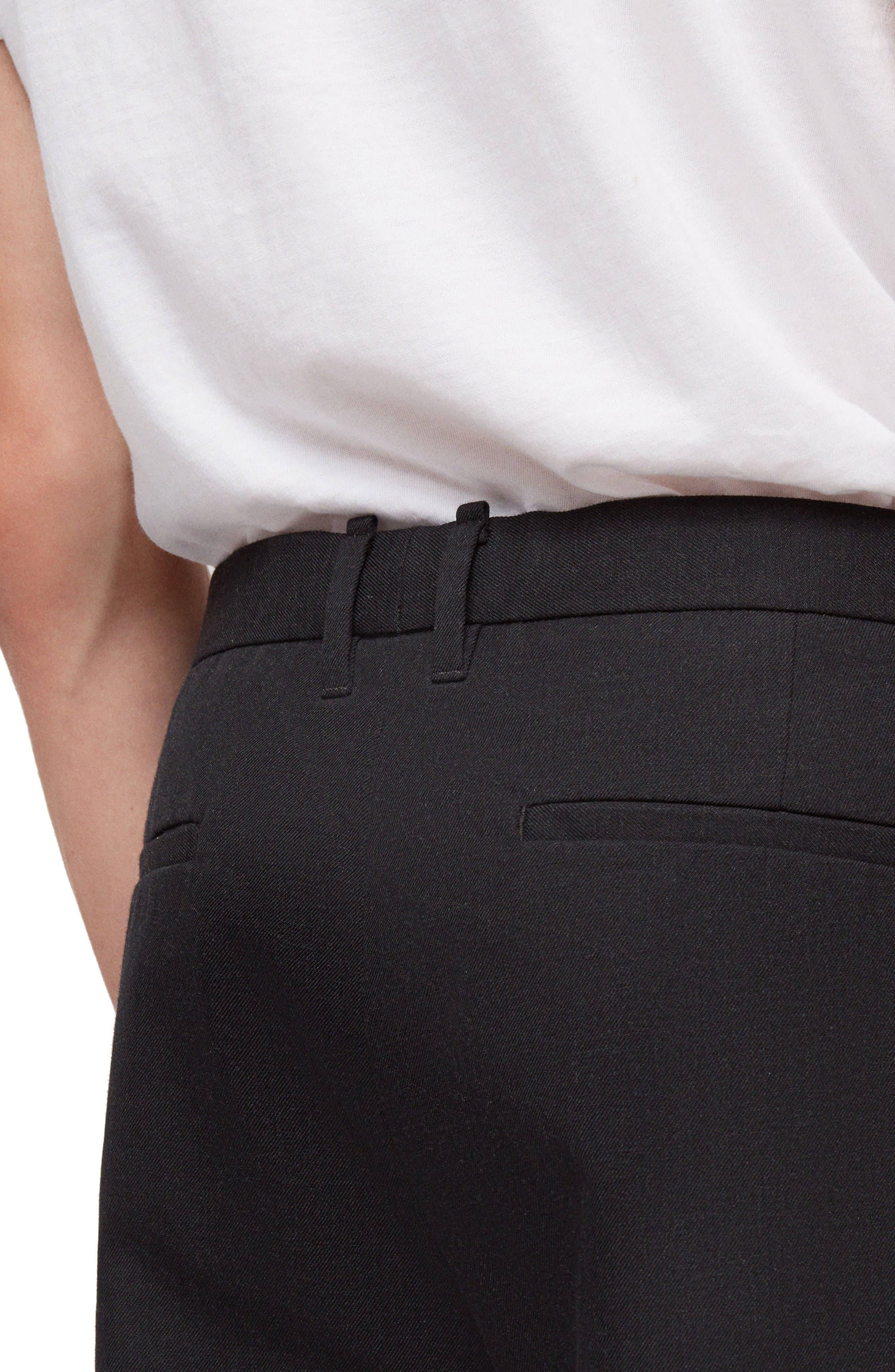 ALLSAINTS,                             Tallis Pleated Cotton & Wool Trousers,                             Alternate thumbnail 4, color,                             BLACK