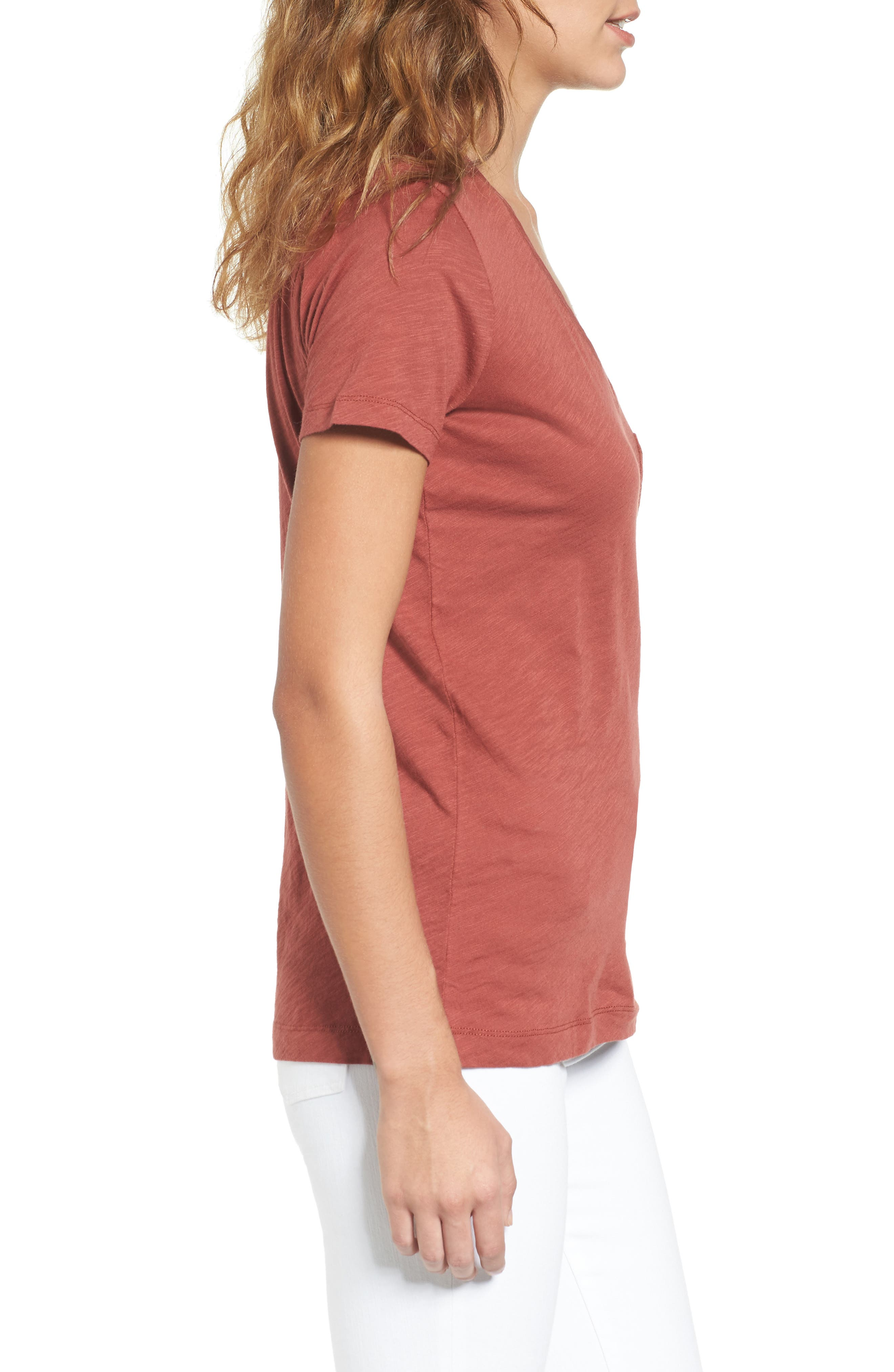 Whisper Cotton V-Neck Pocket Tee,                             Alternate thumbnail 100, color,