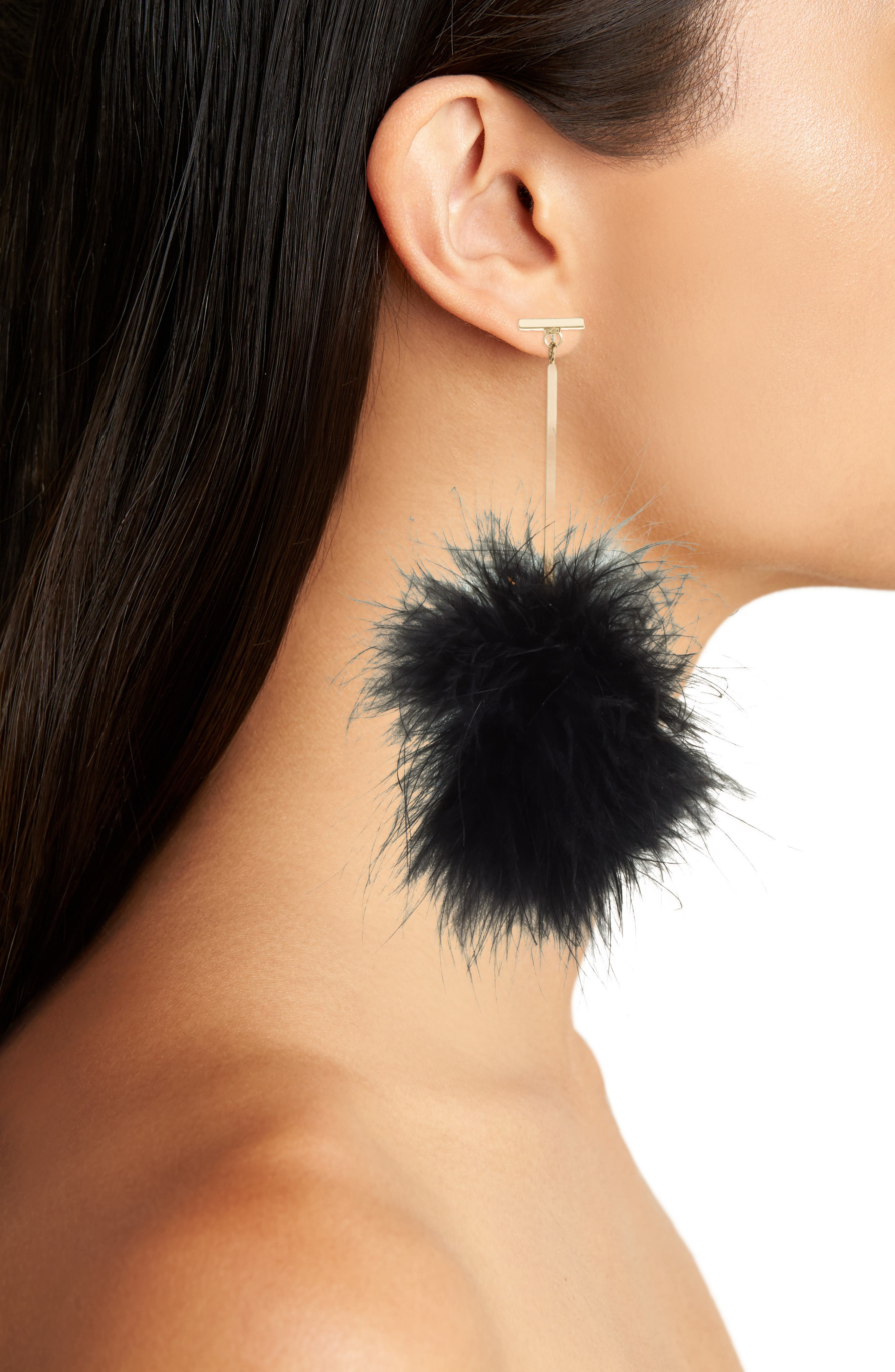 TULESTE,                             Marabou Pompom Drop Earrings,                             Alternate thumbnail 2, color,                             001