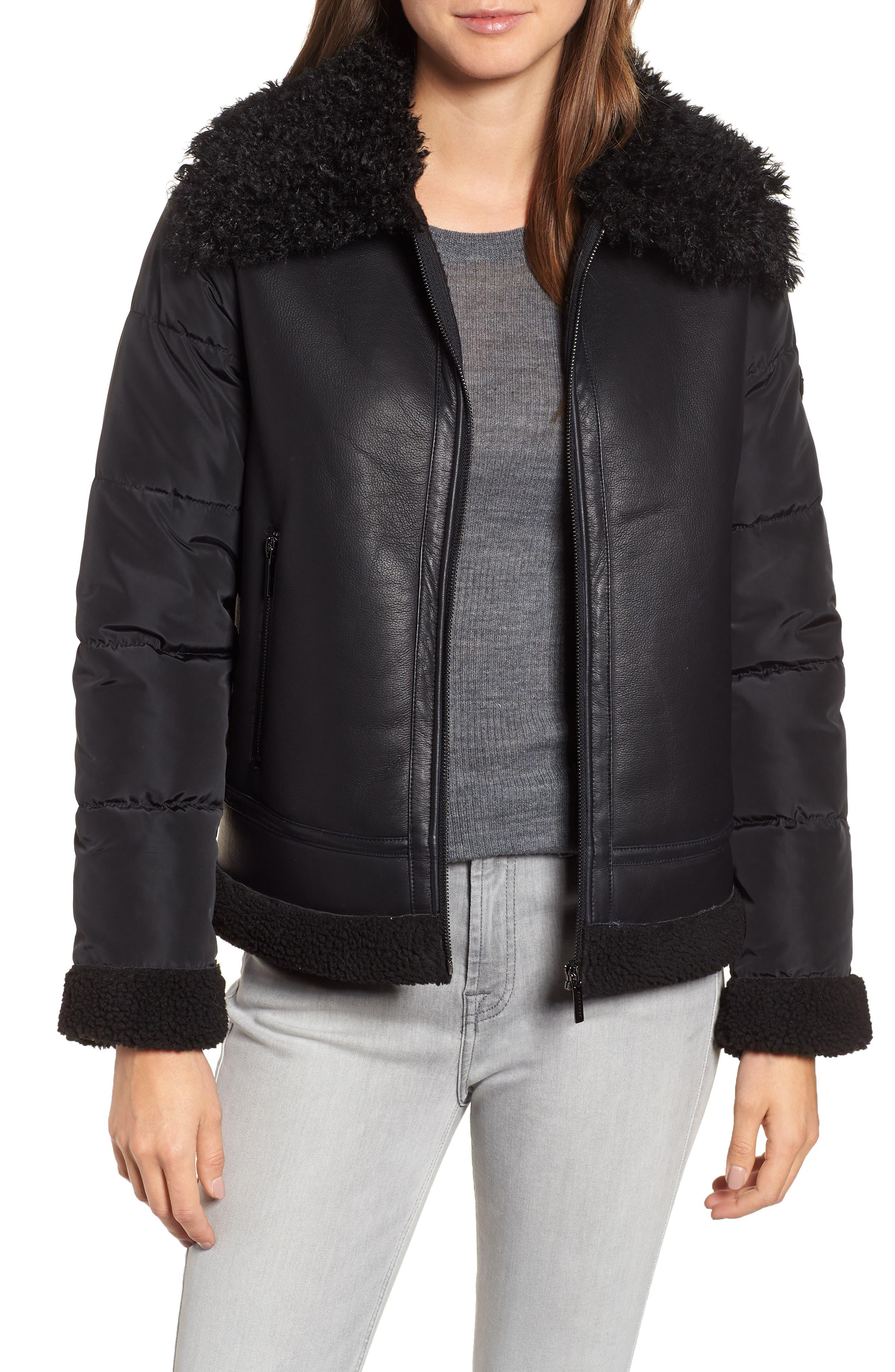 Faux Shearling Hybrid Jacket,                             Main thumbnail 1, color,                             BLACK