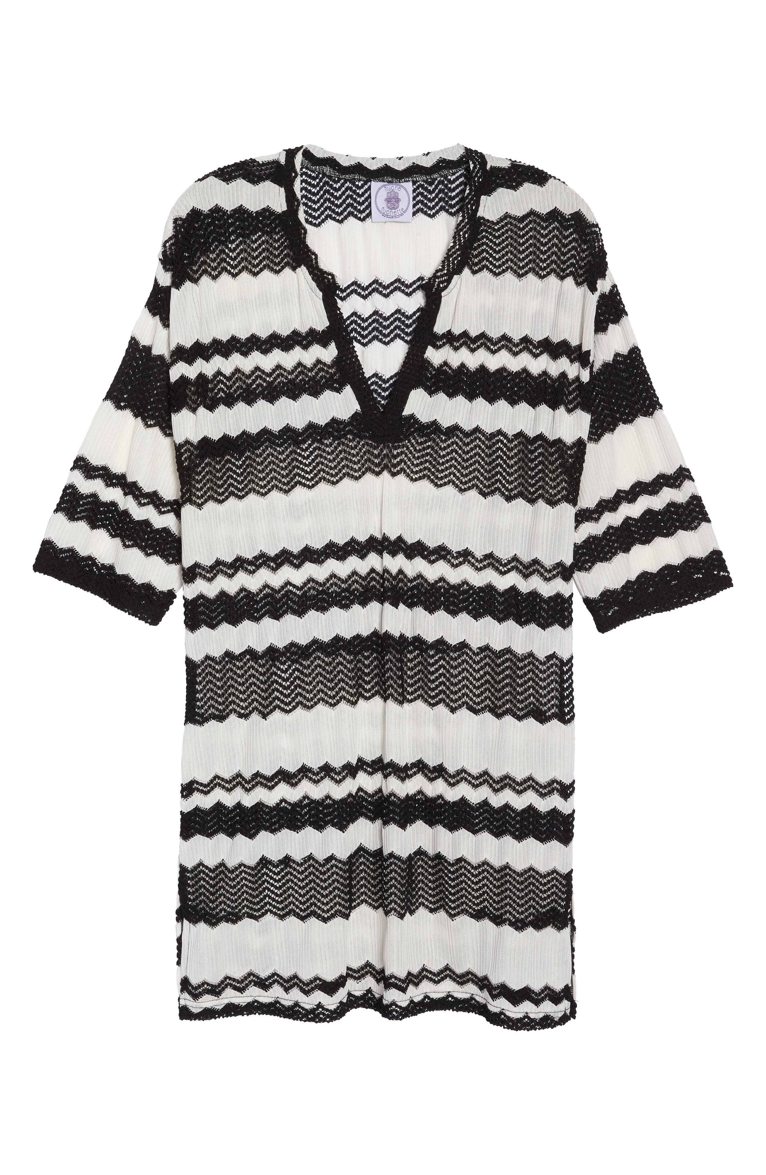 V-Neck Cover-Up Tunic,                             Alternate thumbnail 6, color,                             BLACK AND WHITE