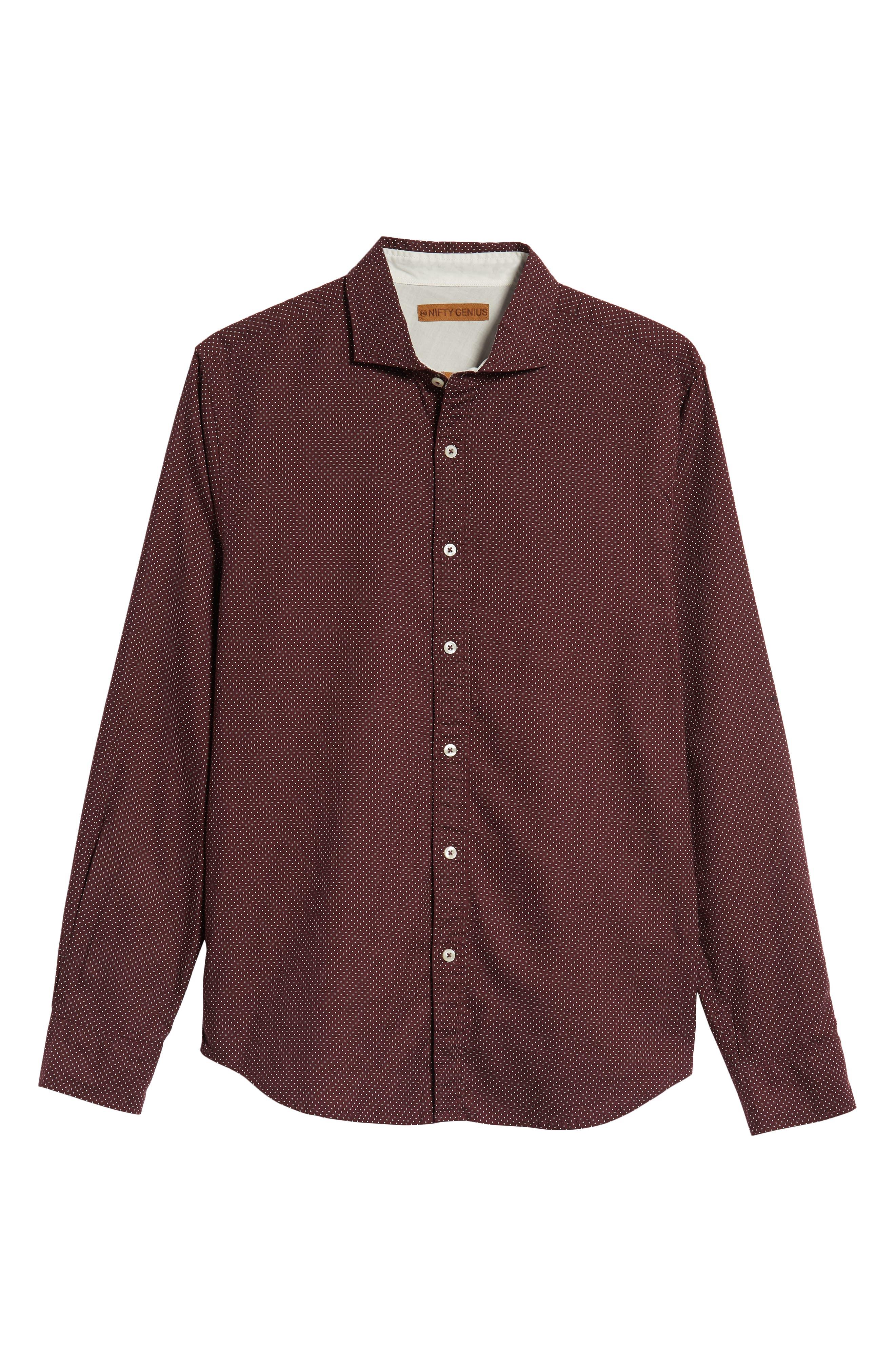 Earnest Regular Fit Dotted Sport Shirt,                             Alternate thumbnail 5, color,                             BURGUNDY