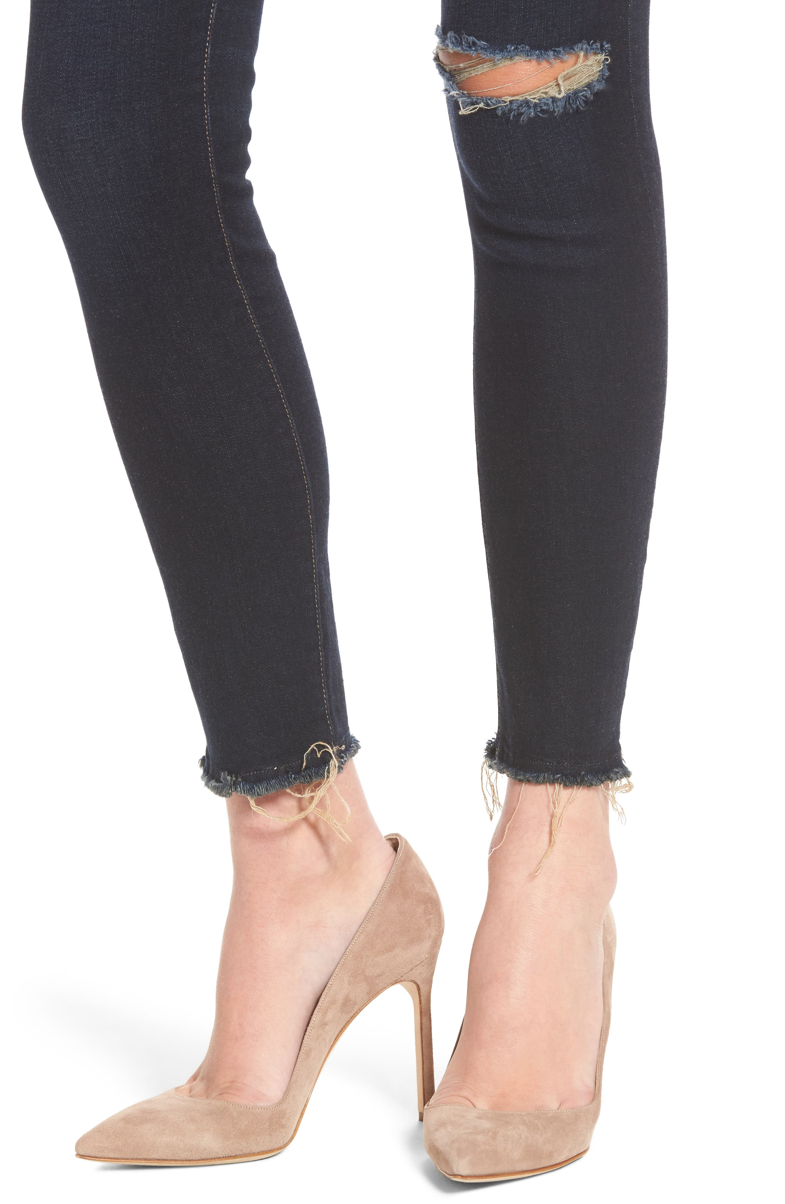 Margaux Instasculpt Ripped Ankle Skinny Jeans,                             Alternate thumbnail 4, color,                             025