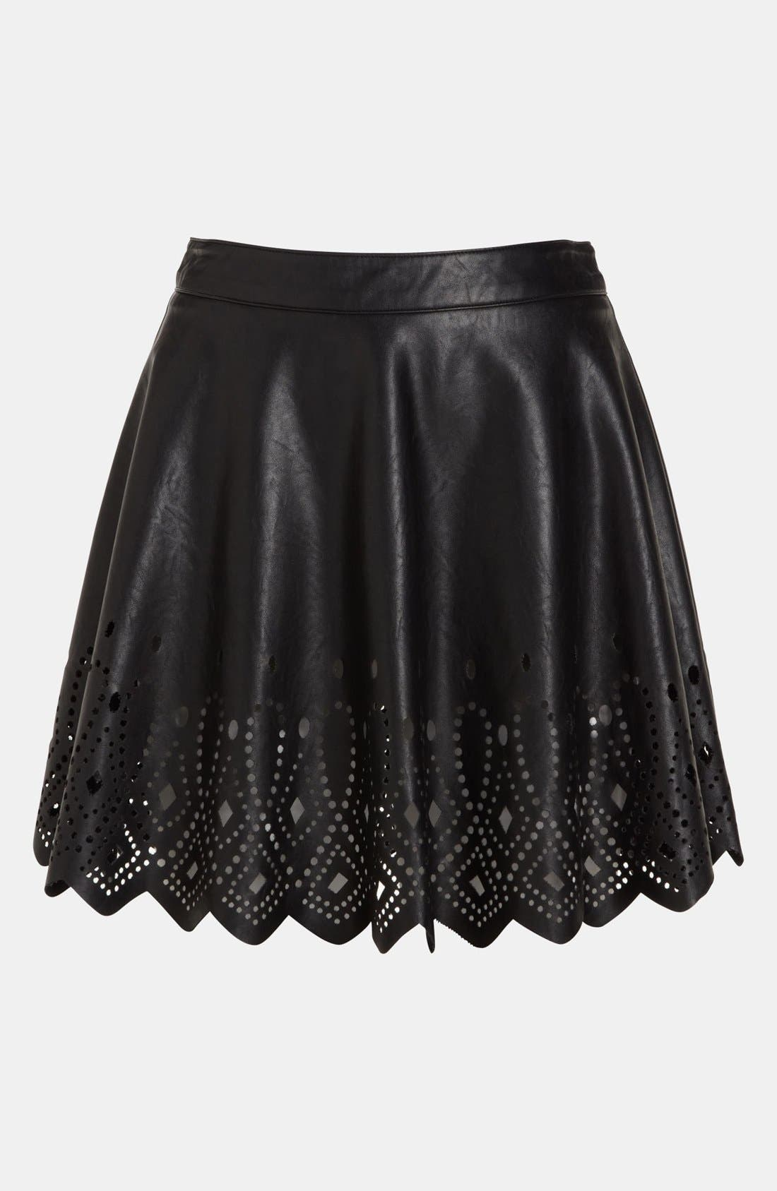 ASTR THE LABEL,                             ASTR Cutout Faux Leather Skirt,                             Alternate thumbnail 3, color,                             001