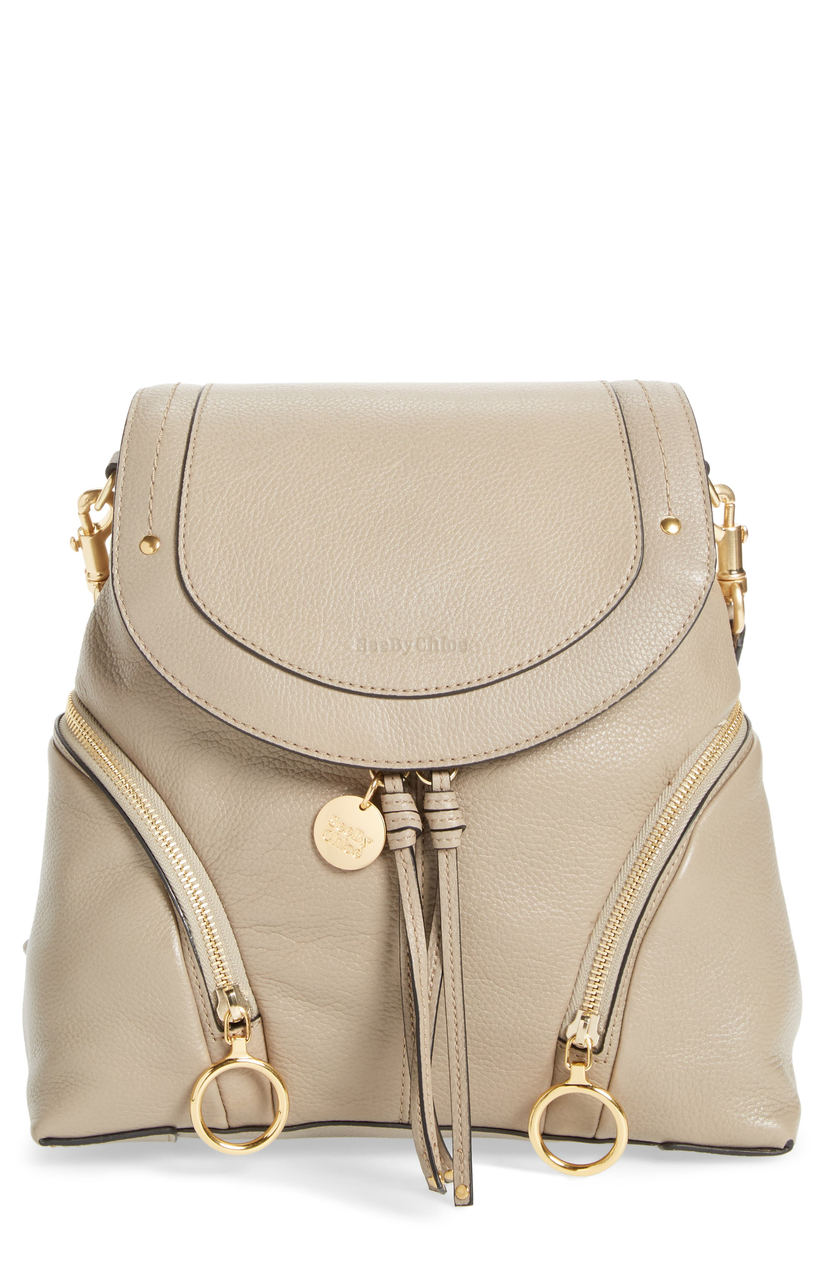 See By Chloe Leather Backpack - Grey