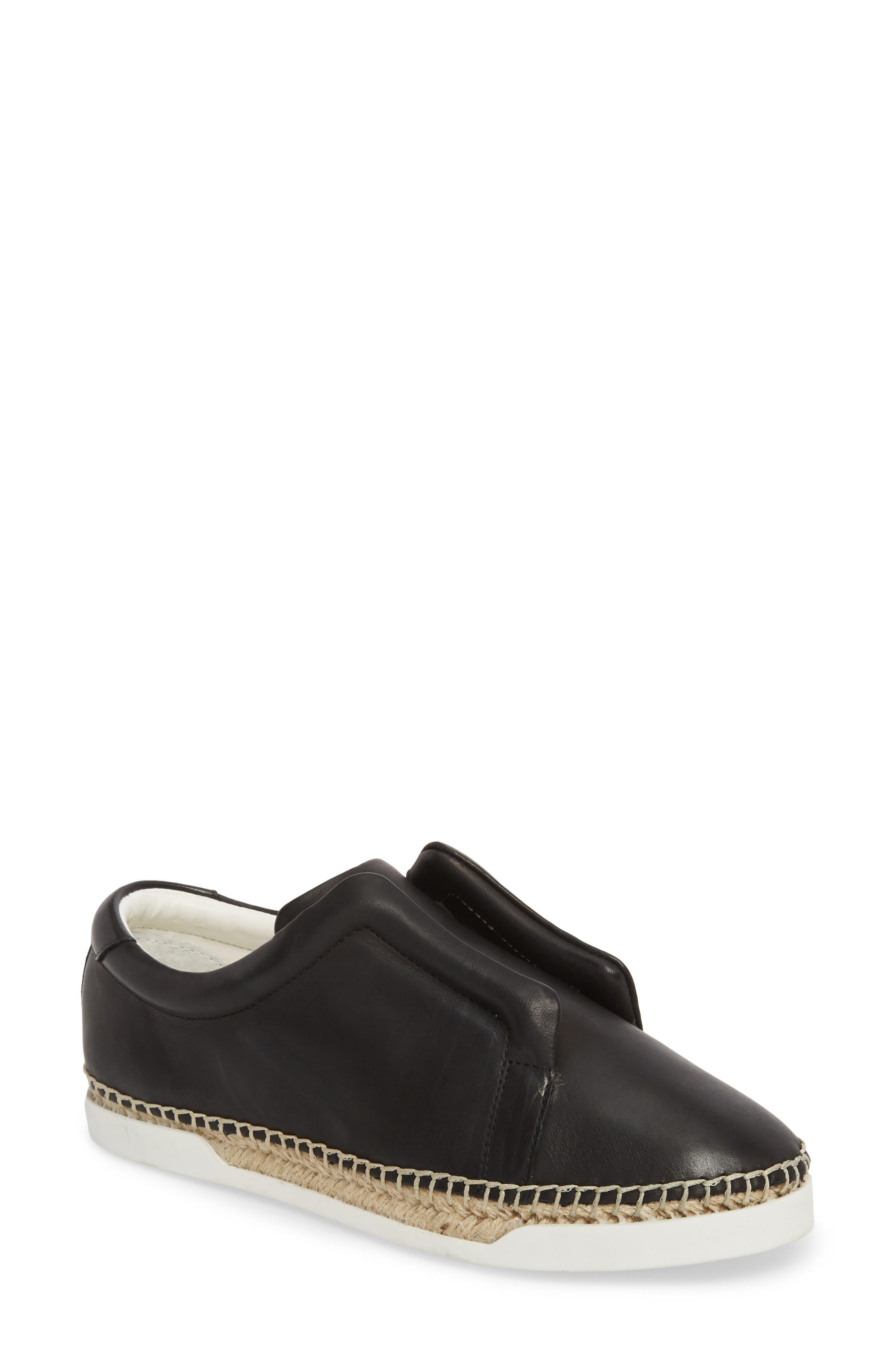 M4D3 Elizabeth Espadrille Slip-On Sneaker,                             Main thumbnail 1, color,                             BLACK LEATHER