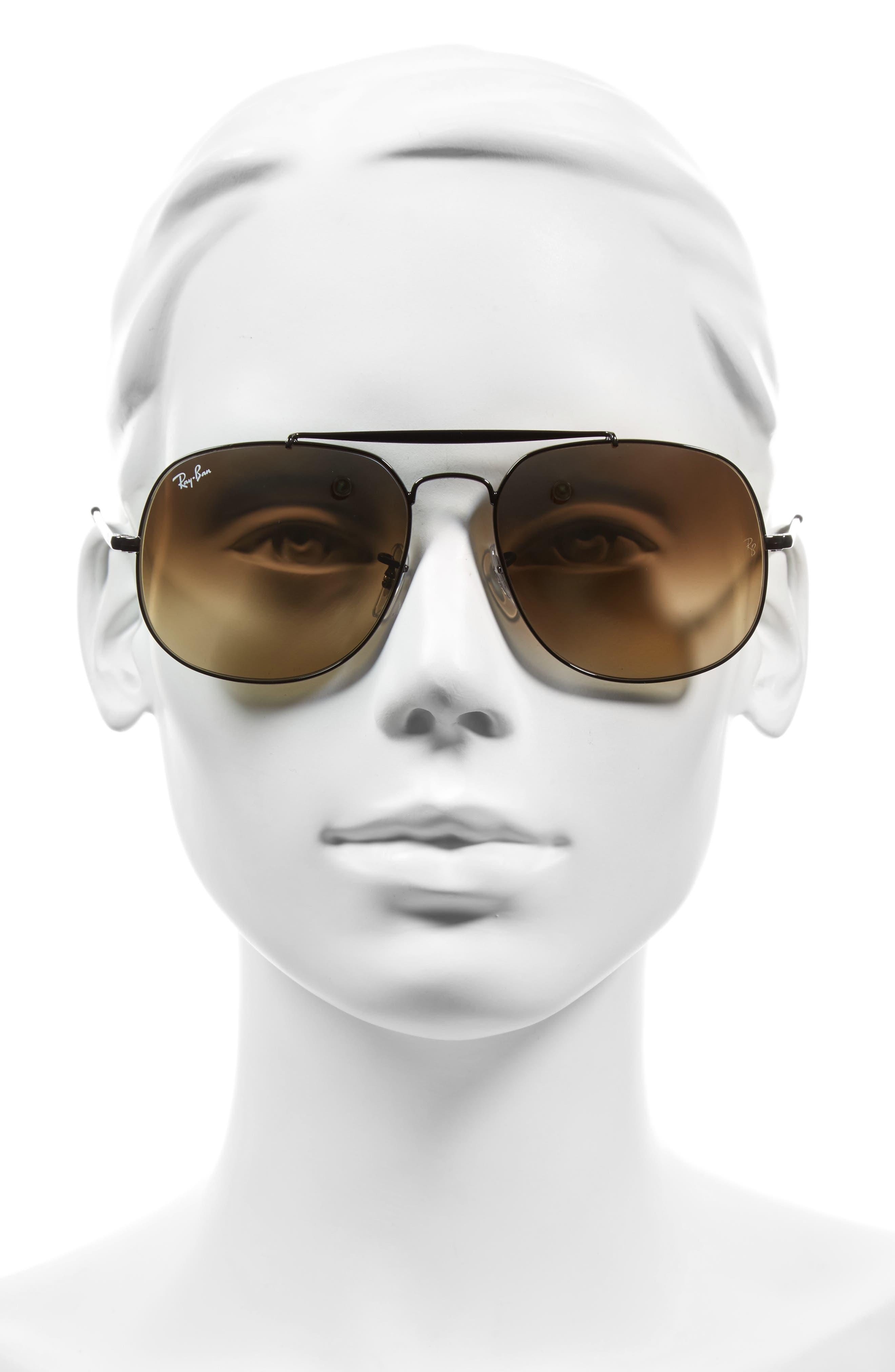 The General 57mm Aviator Sunglasses,                             Alternate thumbnail 2, color,                             BLACK/SILVER GRADIENT