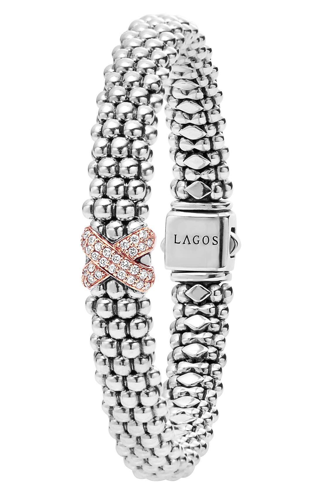 'Caviar' Gold Diamond Rope Bracelet,                             Alternate thumbnail 2, color,                             SILVER/ ROSE GOLD