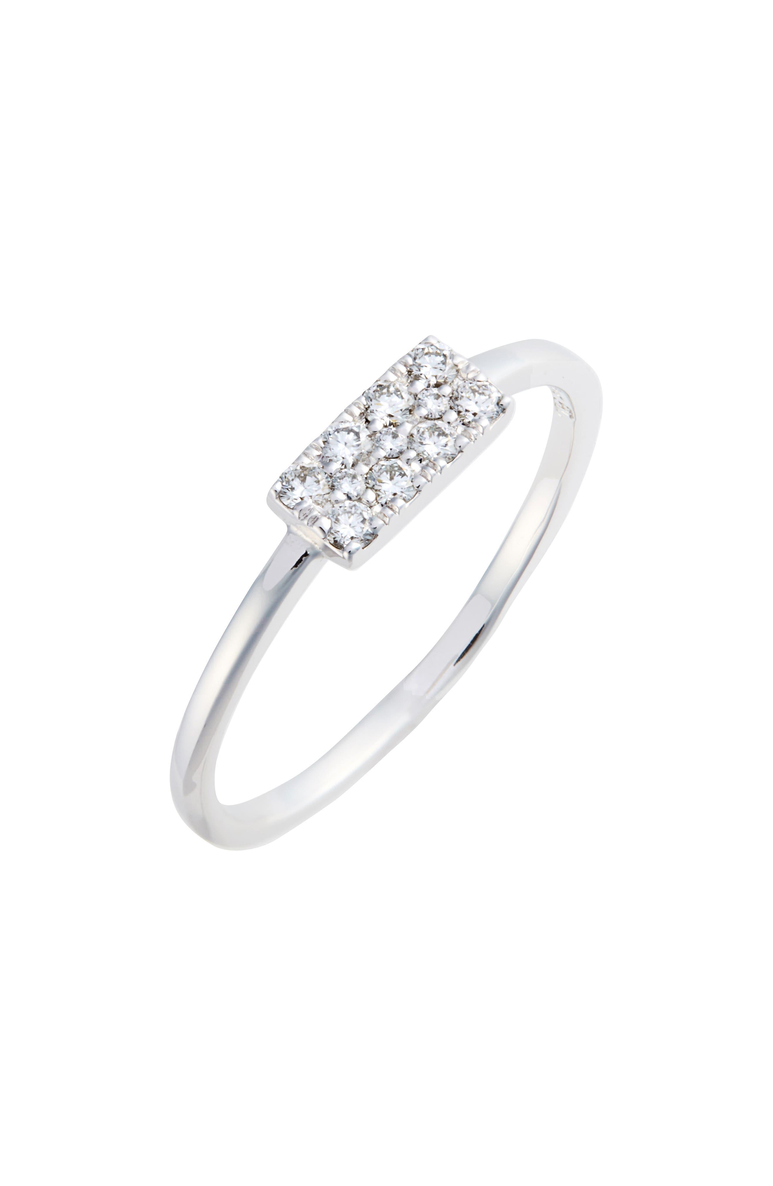 Diamond Rectangle Stacking Ring,                         Main,                         color, WHITE GOLD/ DIAMOND