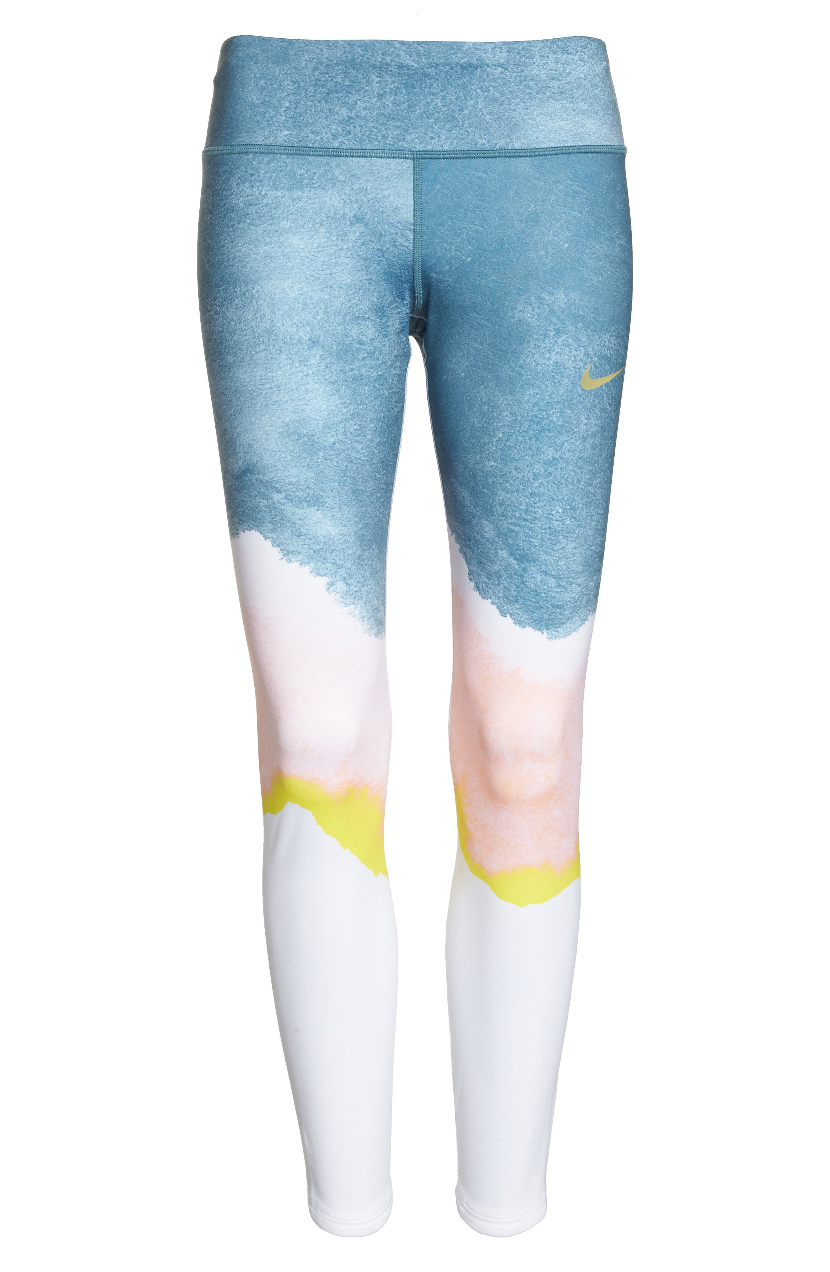 Epic Lux Running Leggings,                             Alternate thumbnail 7, color,                             WHITE/ STORM PINK/ GOLD