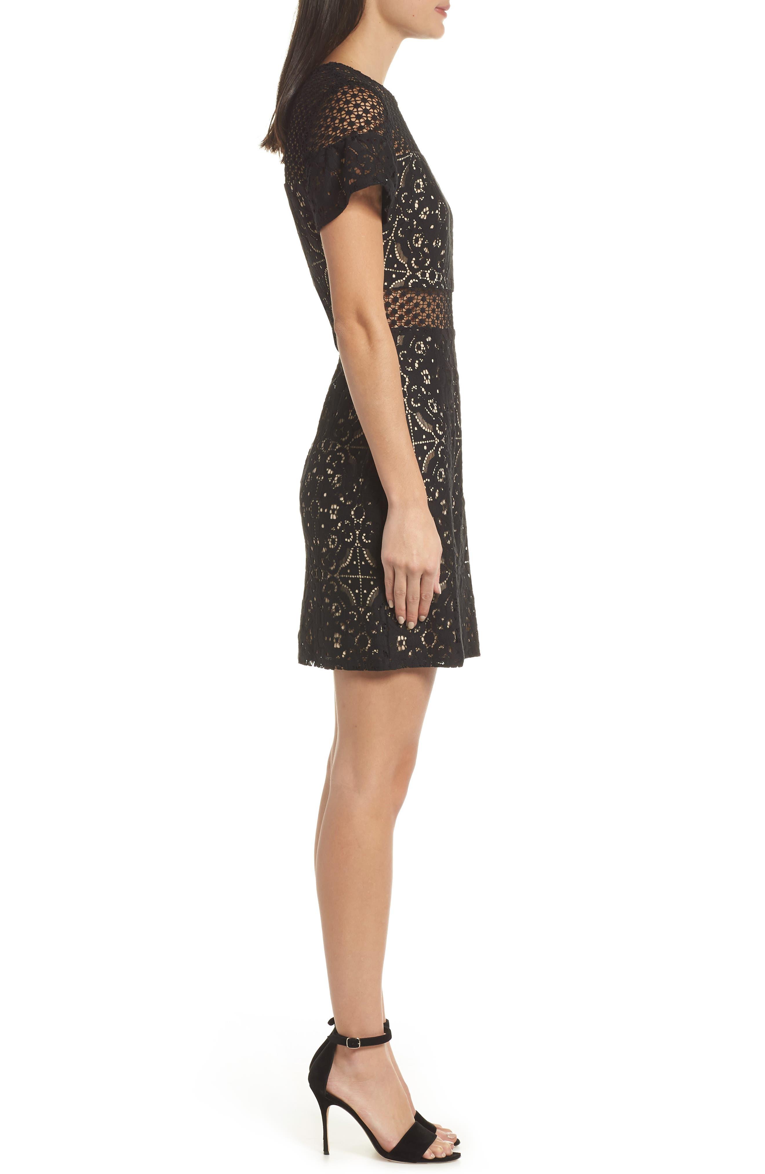 Brittney Ruffle Sleeve Lace Dress,                             Alternate thumbnail 3, color,                             BLACK