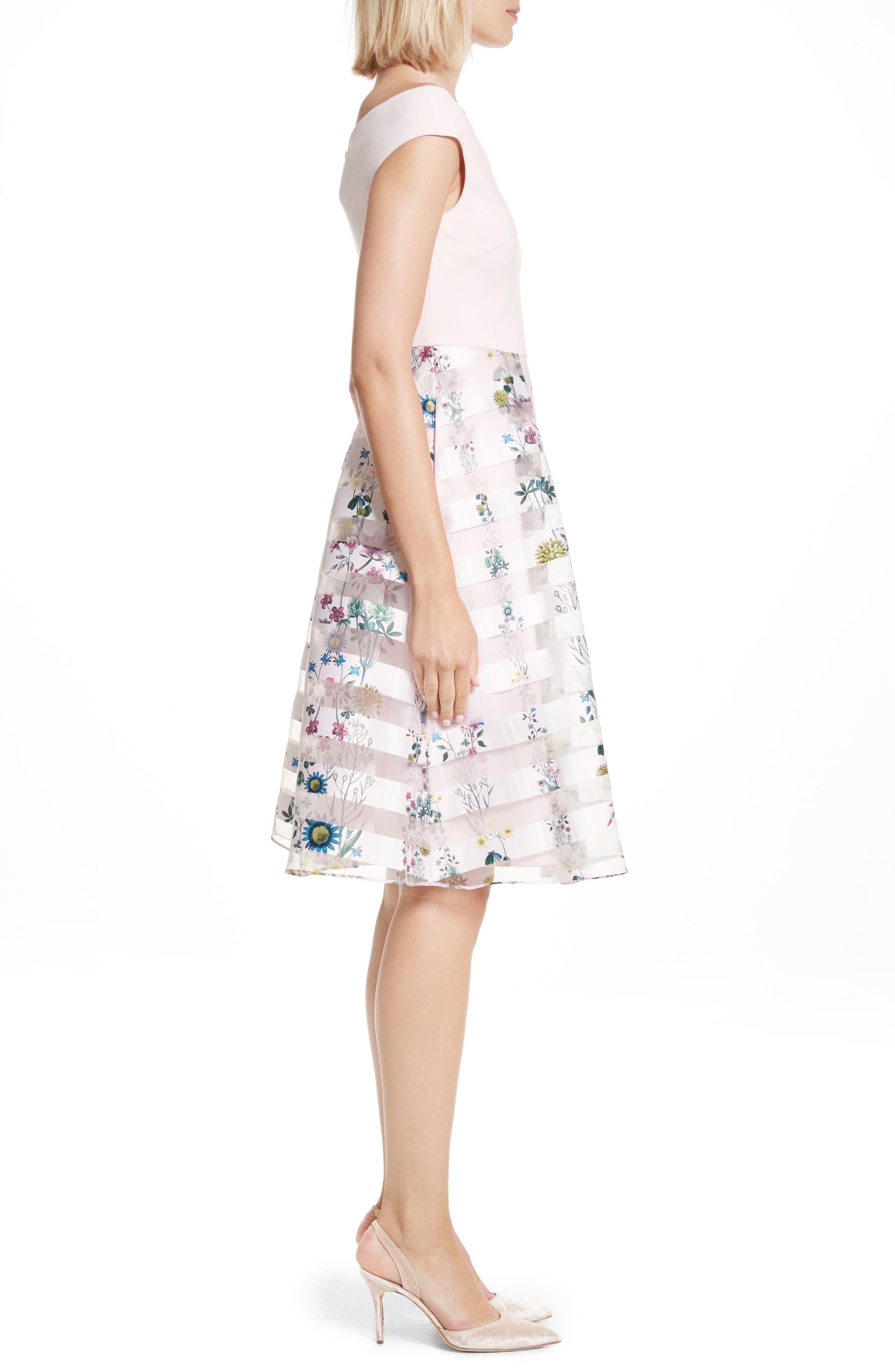Lulou Unity Floral Off the Shoulder Dress,                             Alternate thumbnail 3, color,                             672