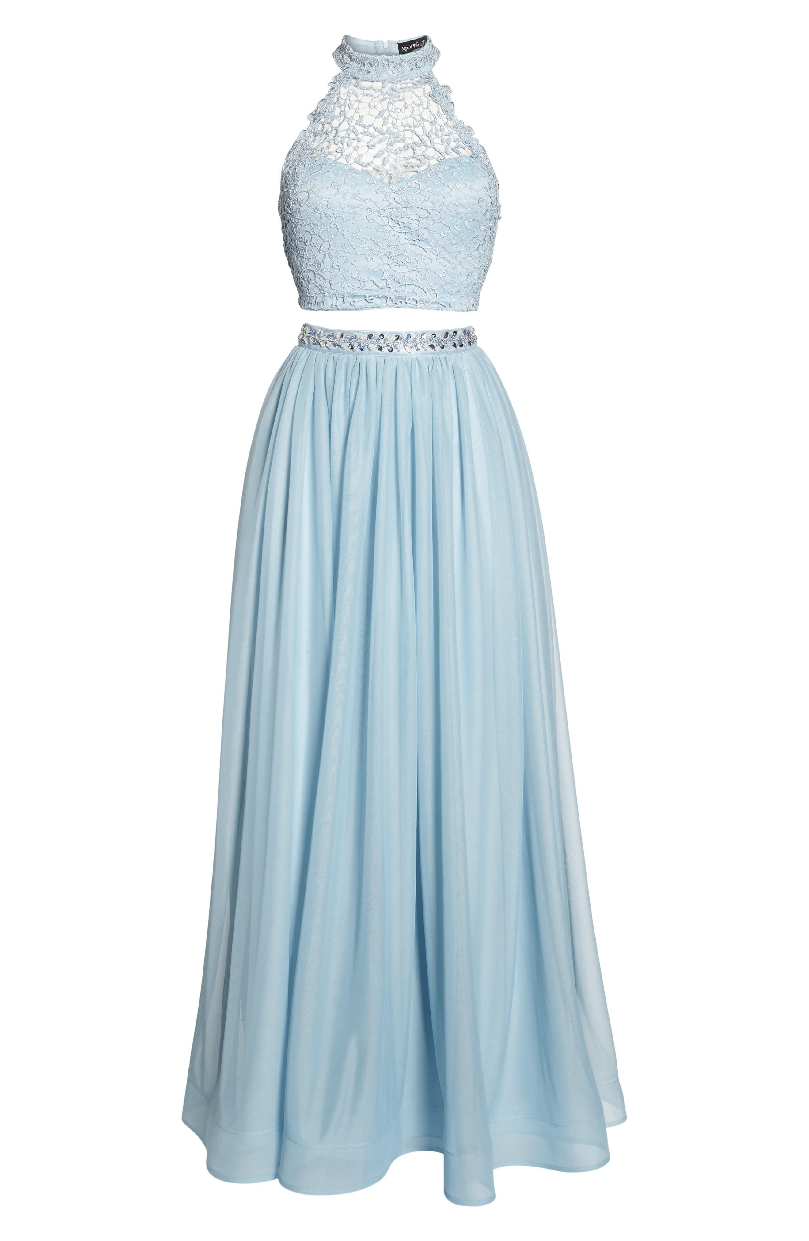 Chemical Lace Two-Piece Halter Gown,                             Alternate thumbnail 6, color,