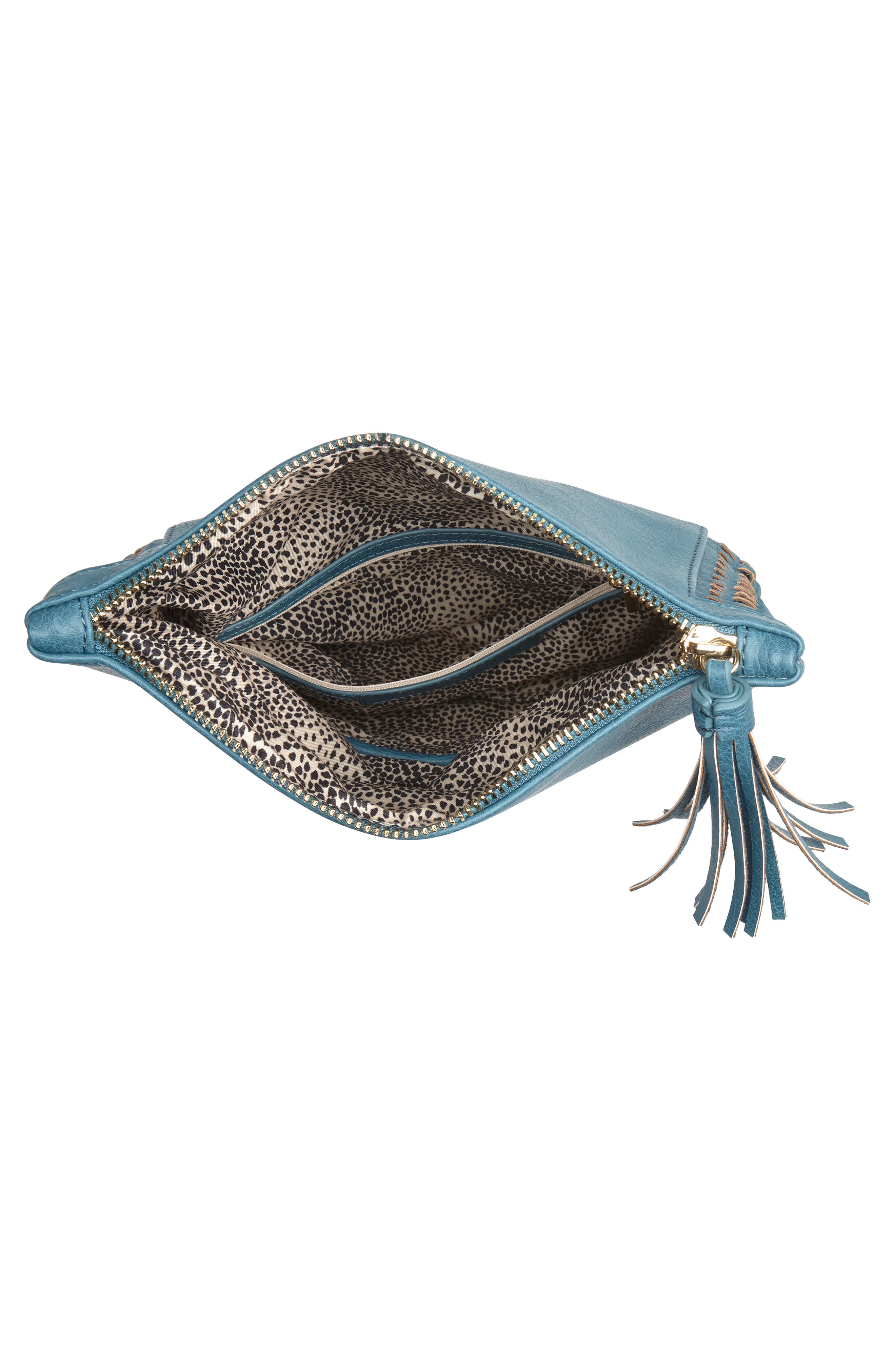 Tara Whipstitched Faux Leather Clutch,                             Alternate thumbnail 8, color,