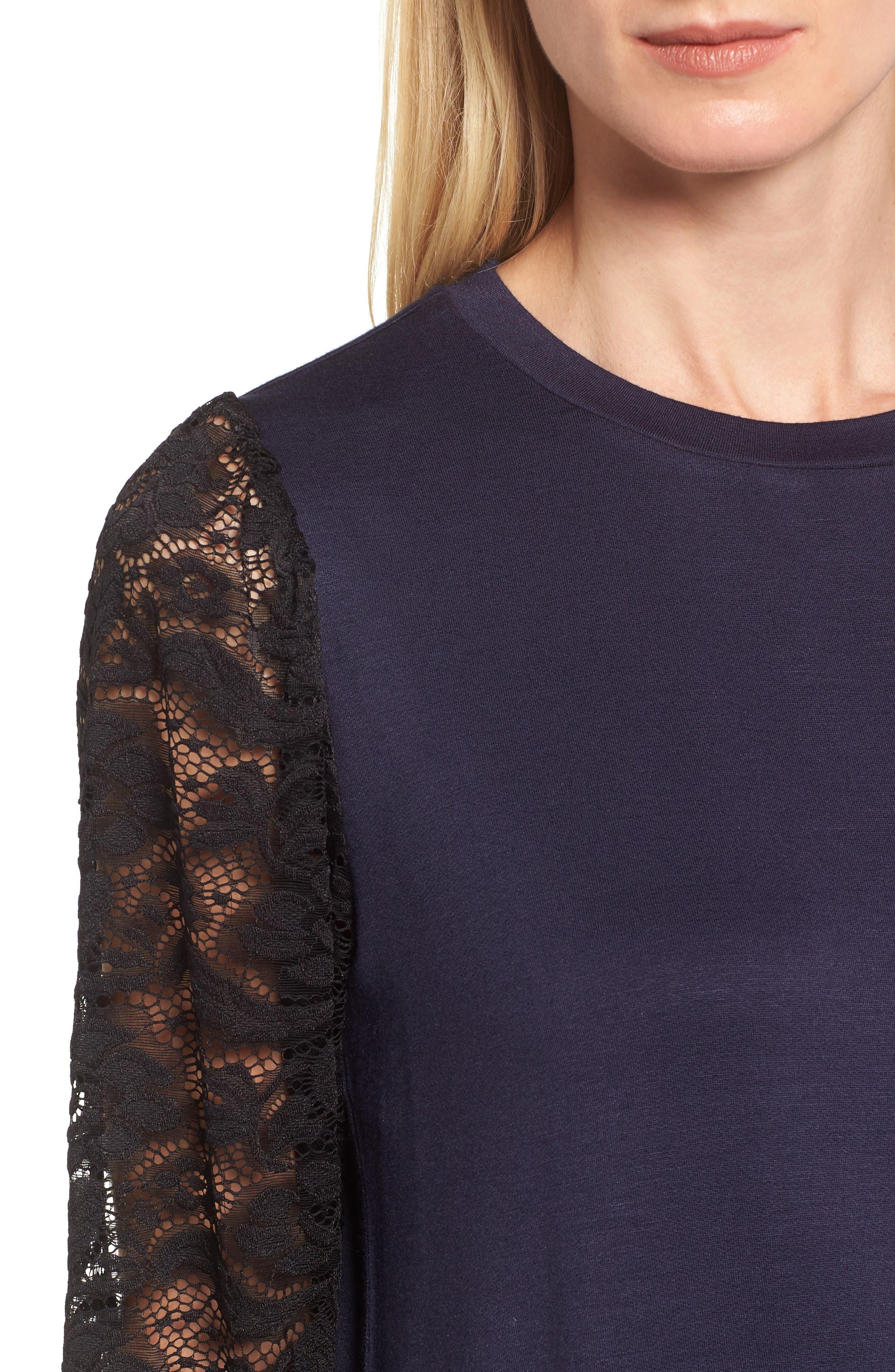 Lace Sleeve Sweatshirt,                             Alternate thumbnail 15, color,