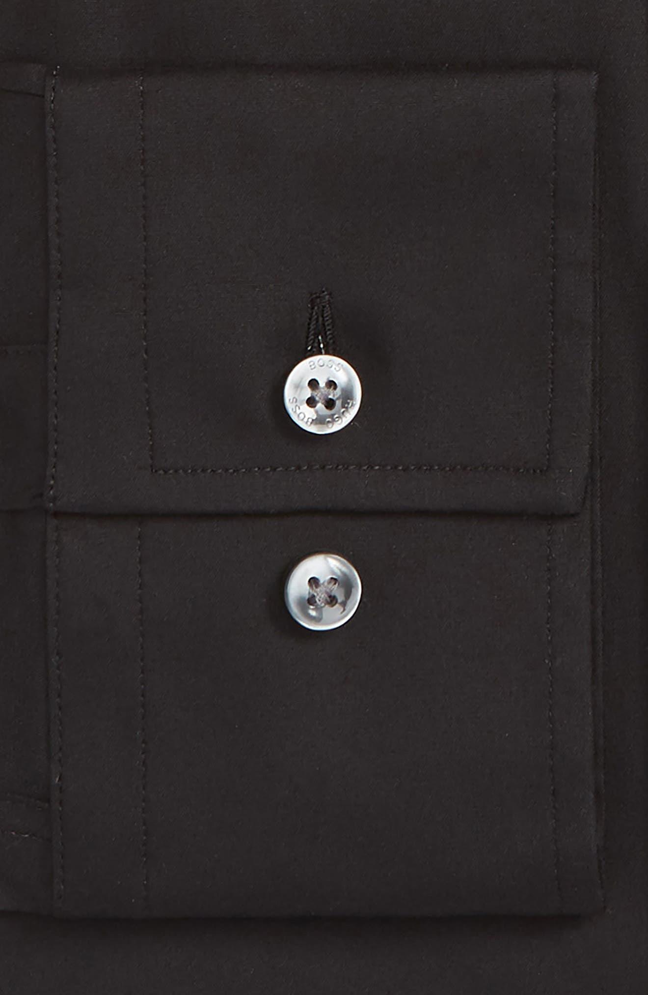 Jenno Slim Fit Stretch Solid Dress Shirt,                             Alternate thumbnail 6, color,                             BLACK