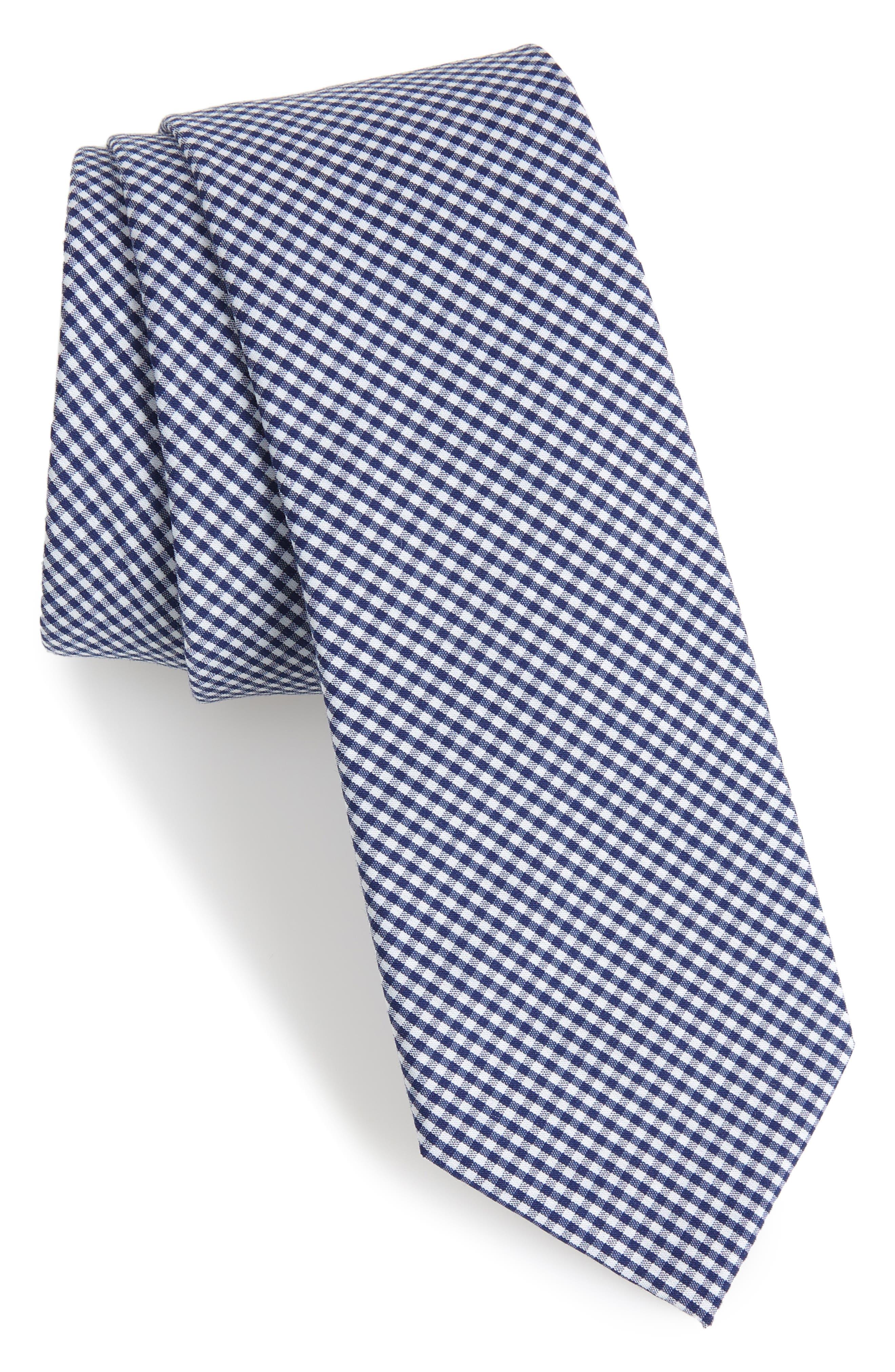 Sydney Check Cotton Skinny Tie,                             Main thumbnail 1, color,