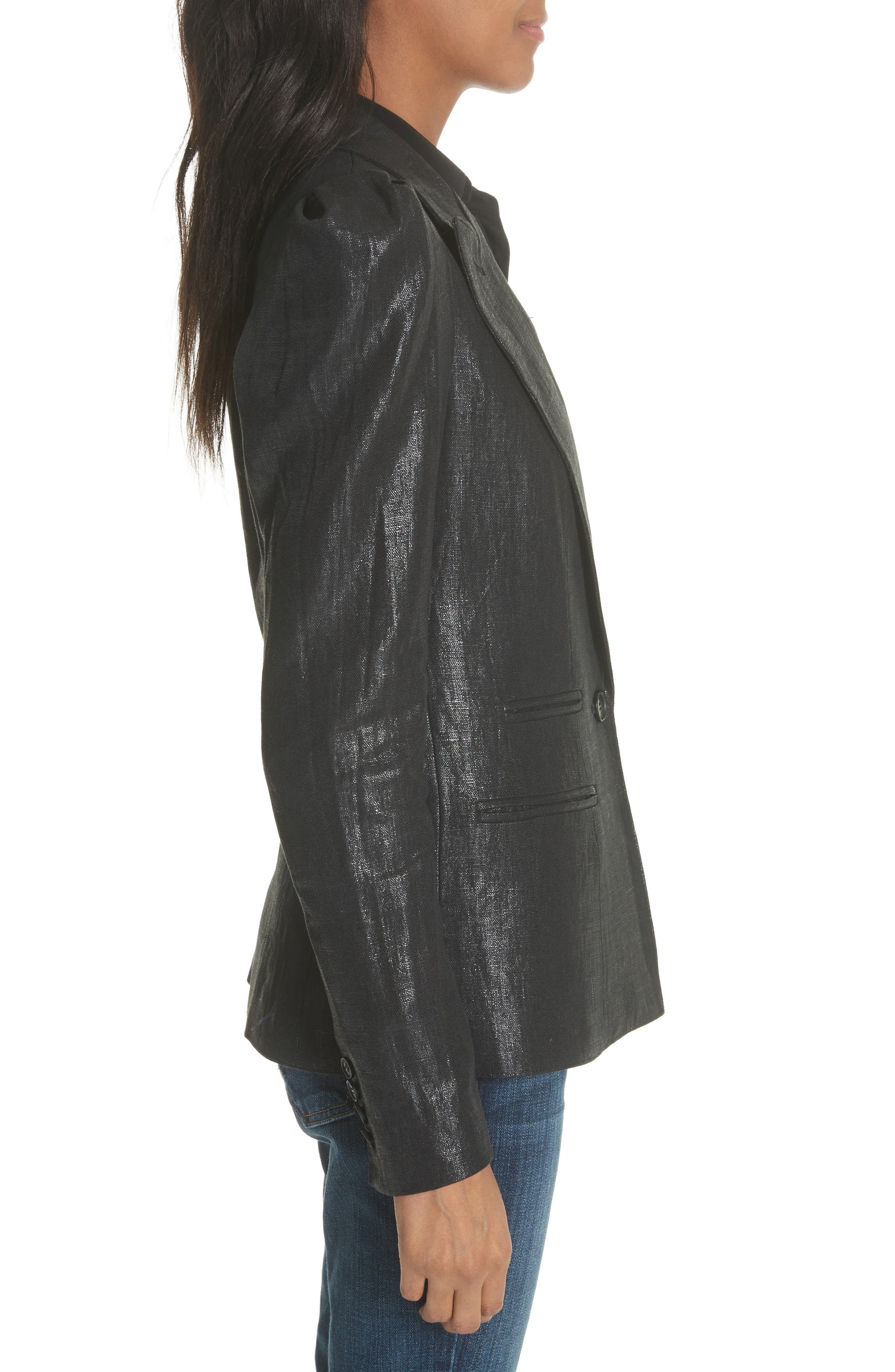 Metallic Linen Puff Sleeve Blazer,                             Alternate thumbnail 3, color,                             001