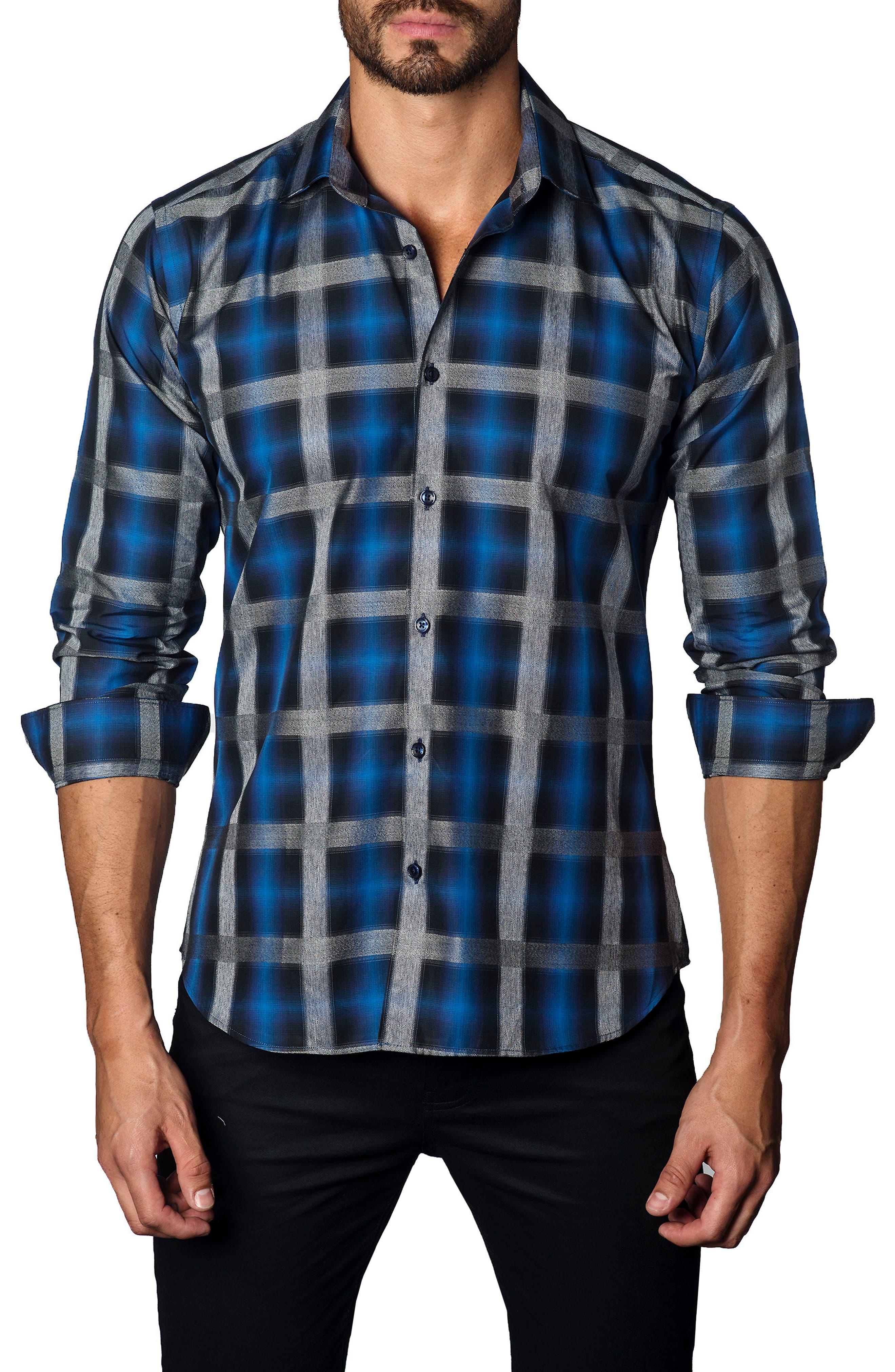 Trim Fit Oversize Check Sport Shirt,                         Main,                         color, 400