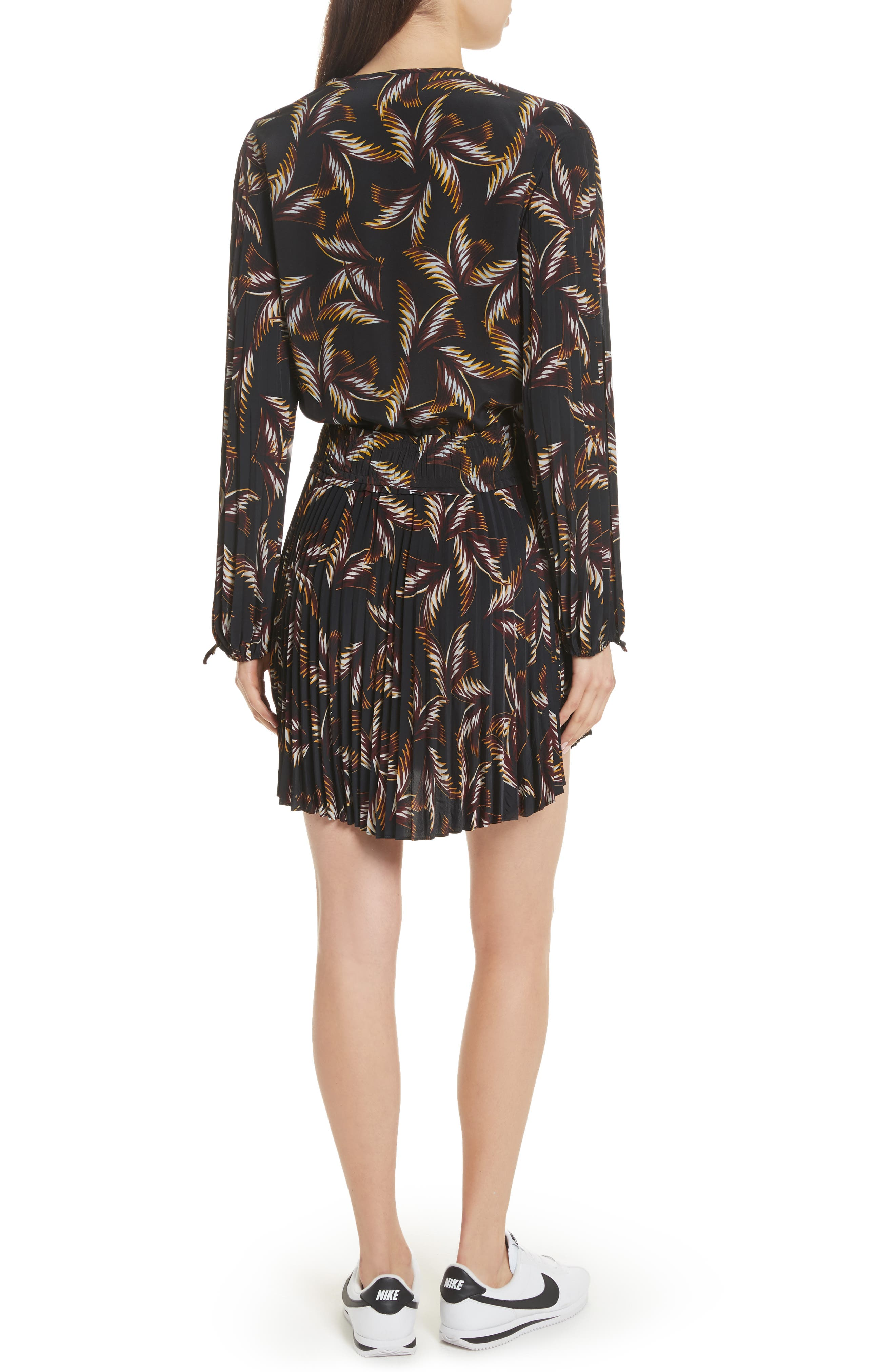 Rory Pleated Silk Dress,                             Alternate thumbnail 2, color,                             002