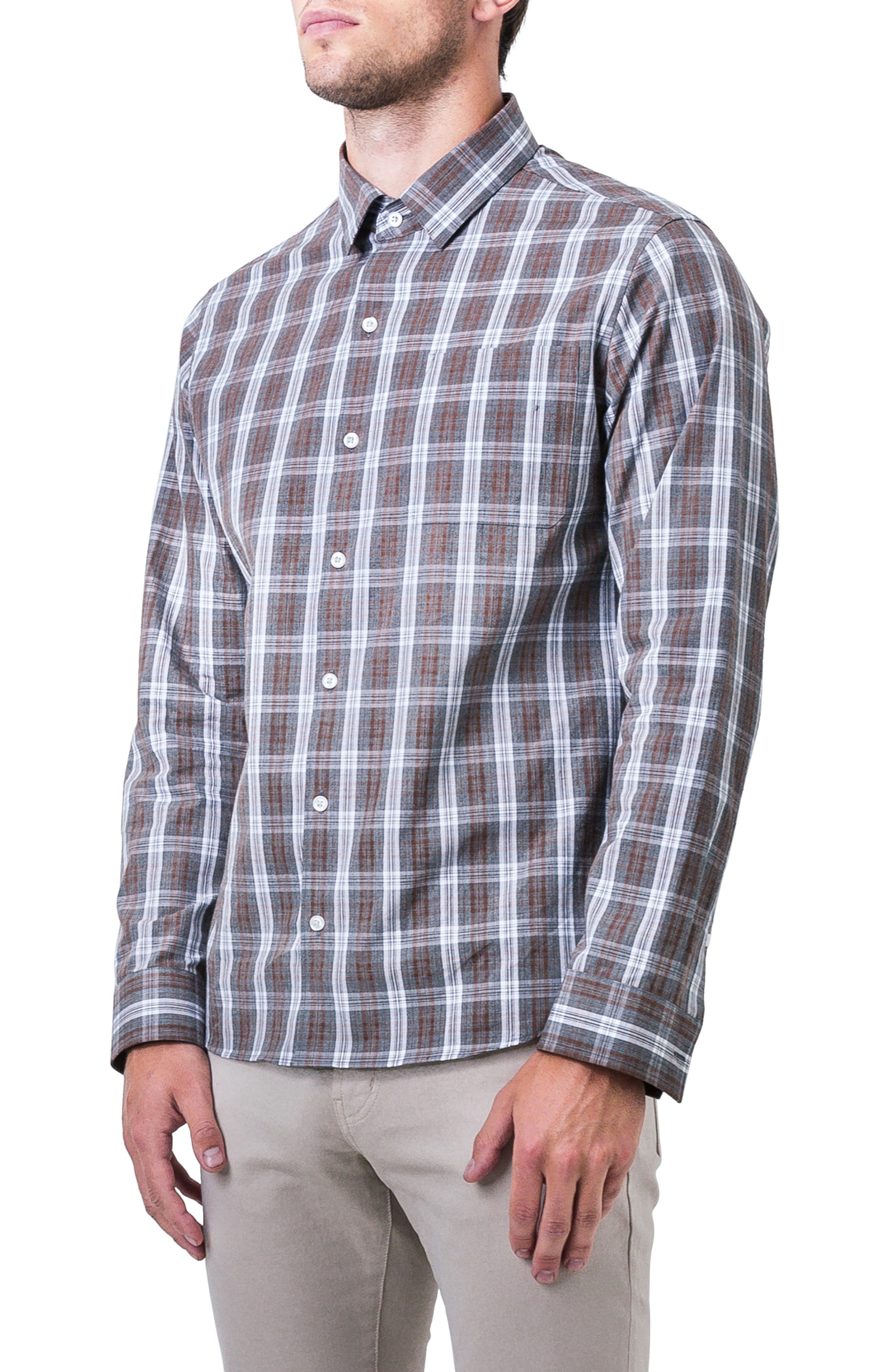 Majesty Plaid Woven Shirt,                             Alternate thumbnail 3, color,                             BROWN