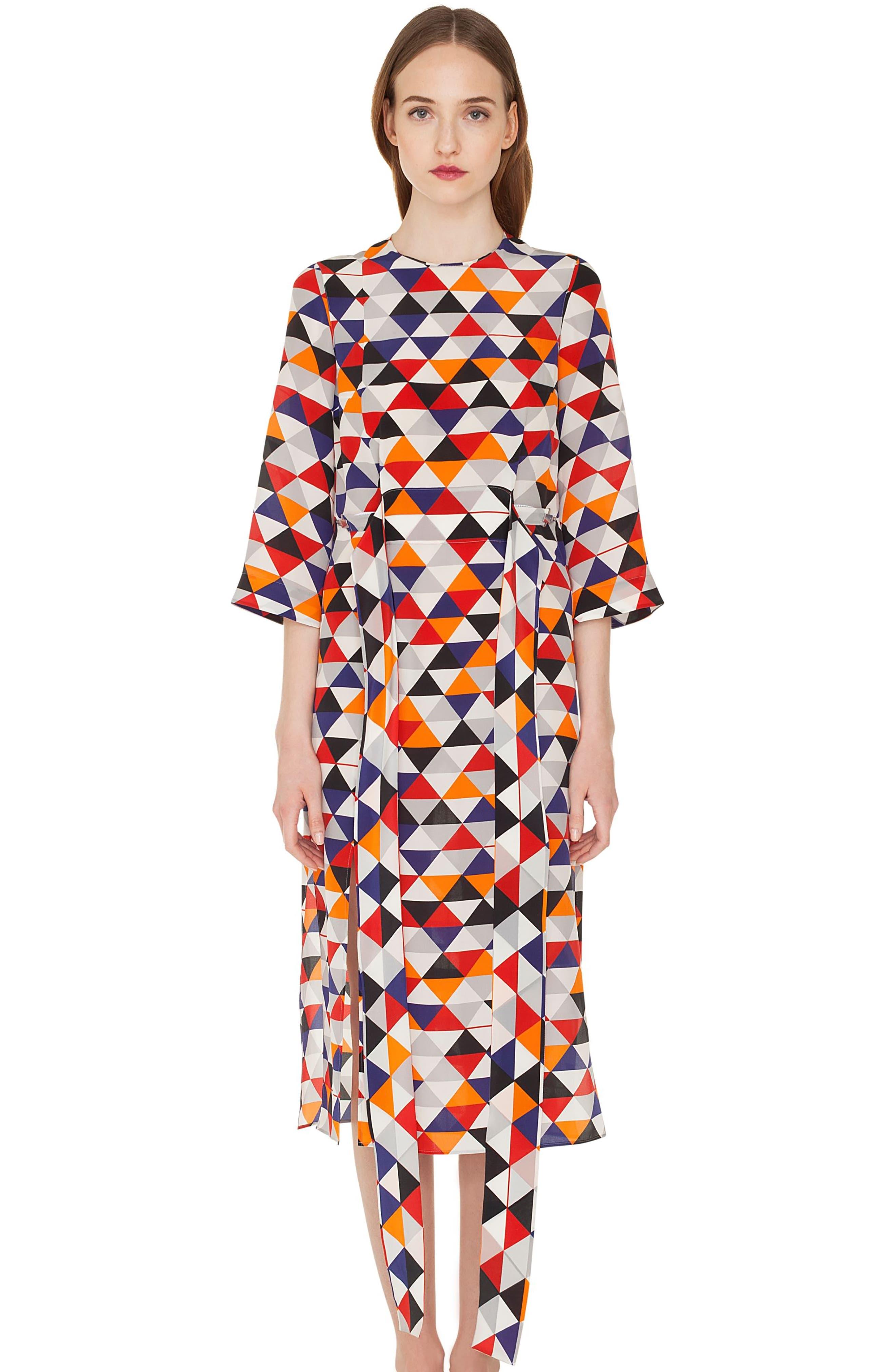 Diamond Print Silk Crepe Dress,                             Alternate thumbnail 4, color,                             MULTICOLOR