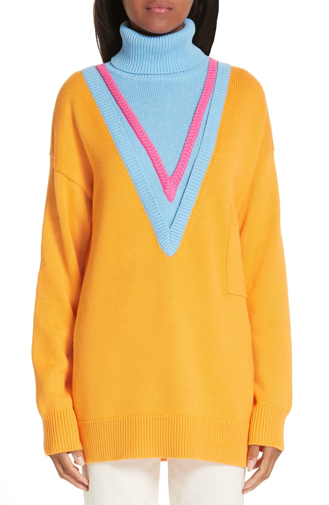 VICTOR GLEMAUD,                             Layered Cotton & Cashmere Turtleneck Sweater,                             Main thumbnail 1, color,                             ORANGE COMBO