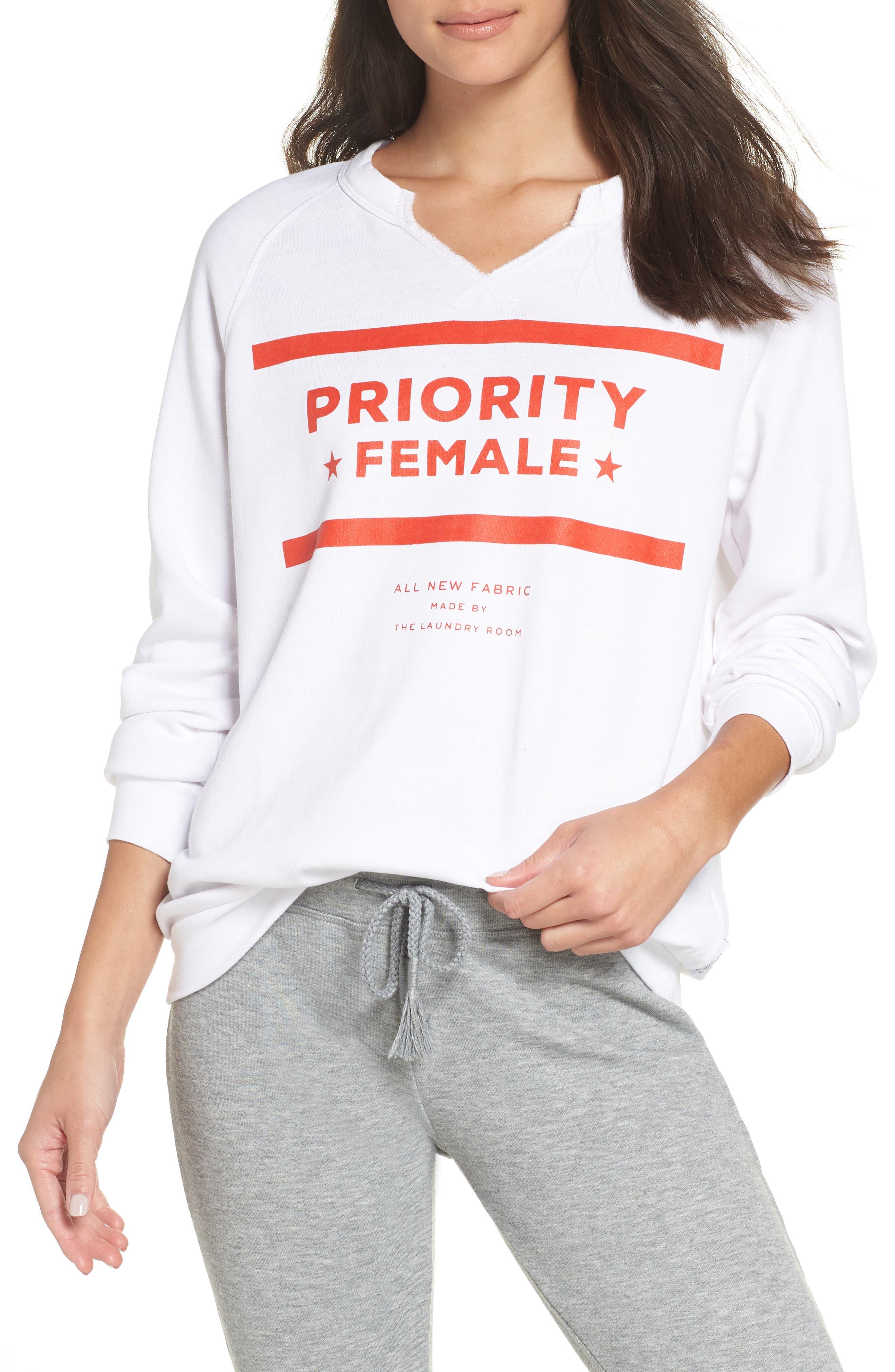 Priority Female Sweatshirt,                             Main thumbnail 1, color,                             WHITE