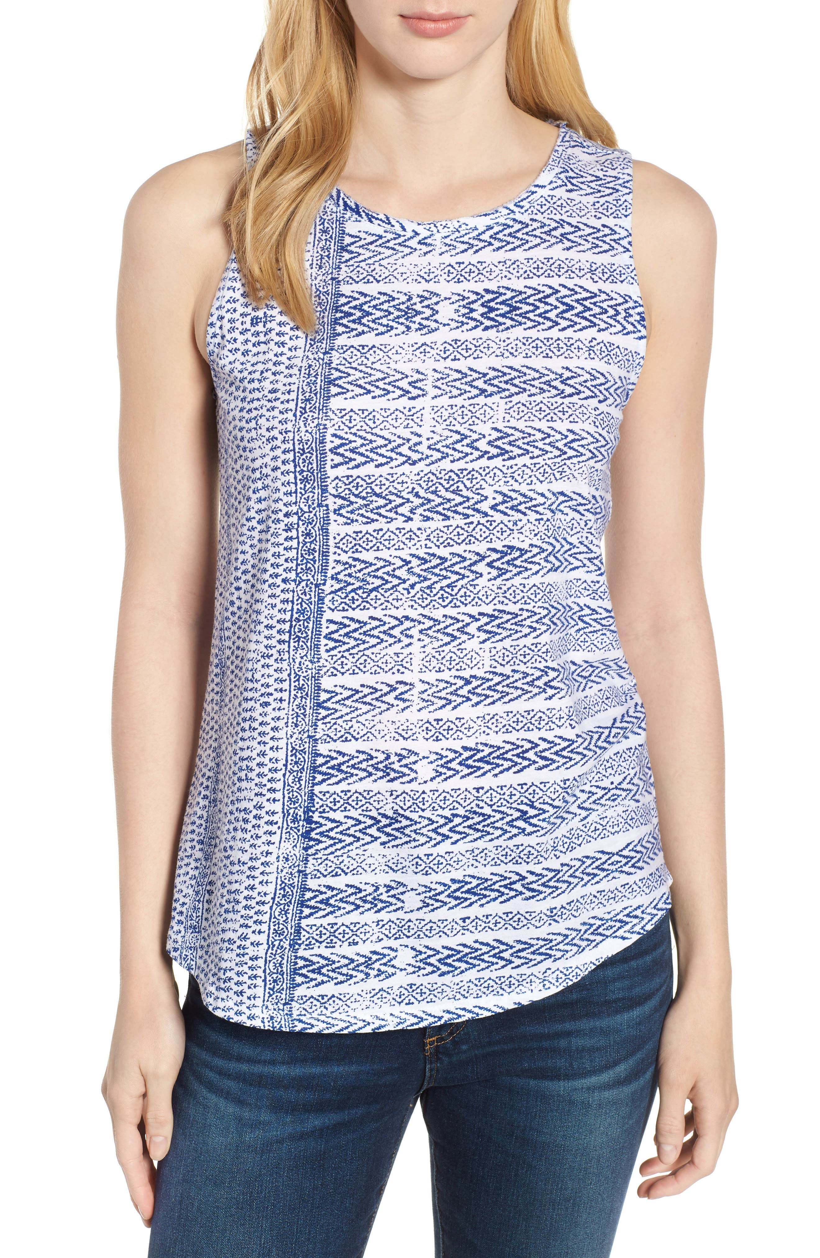 LUCKY BRAND,                             Print Tank,                             Main thumbnail 1, color,                             460