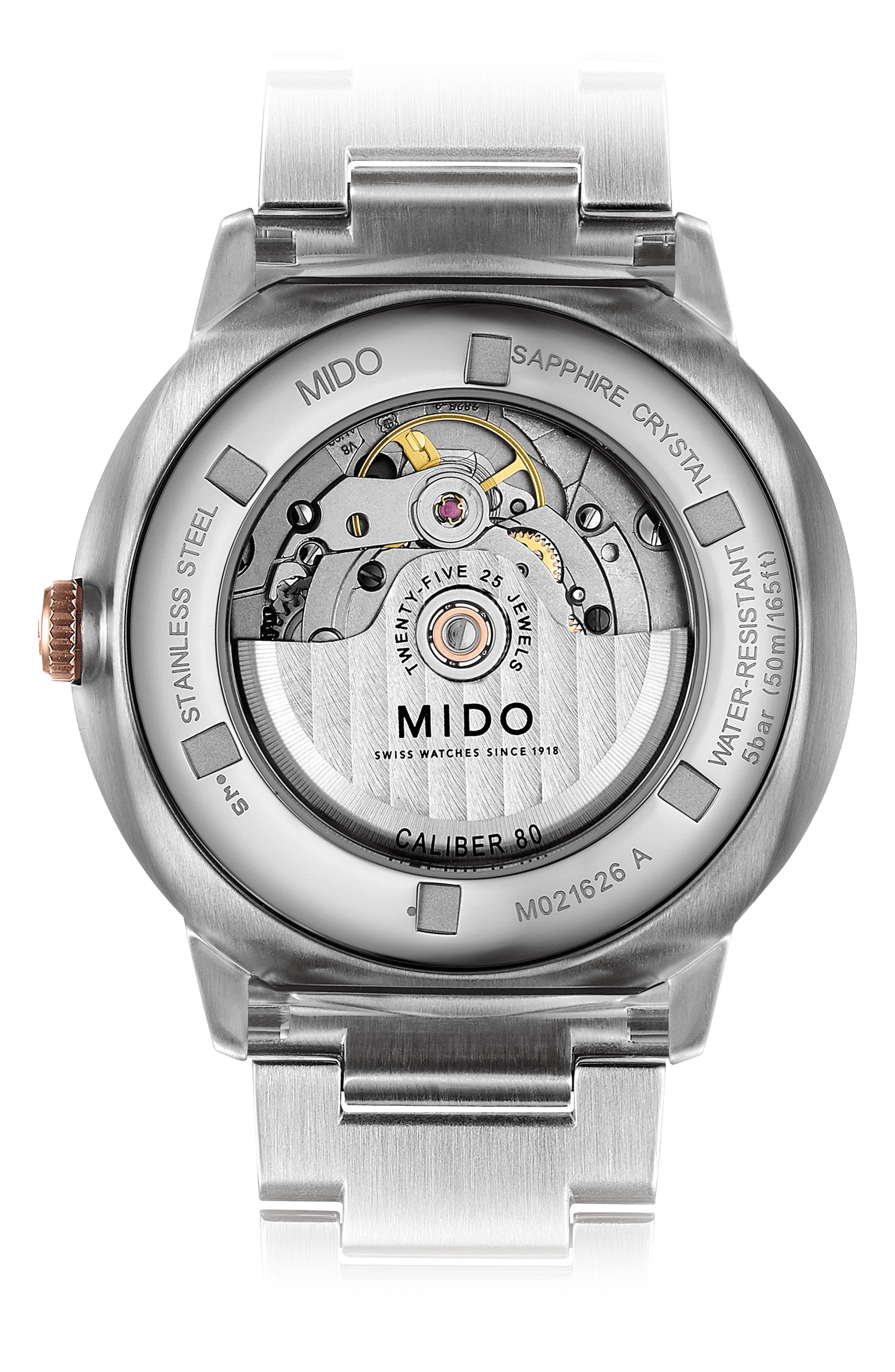 Commander II Skeleton Bracelet Watch, 42mm,                             Alternate thumbnail 2, color,                             ROSE GOLD/ SILVER