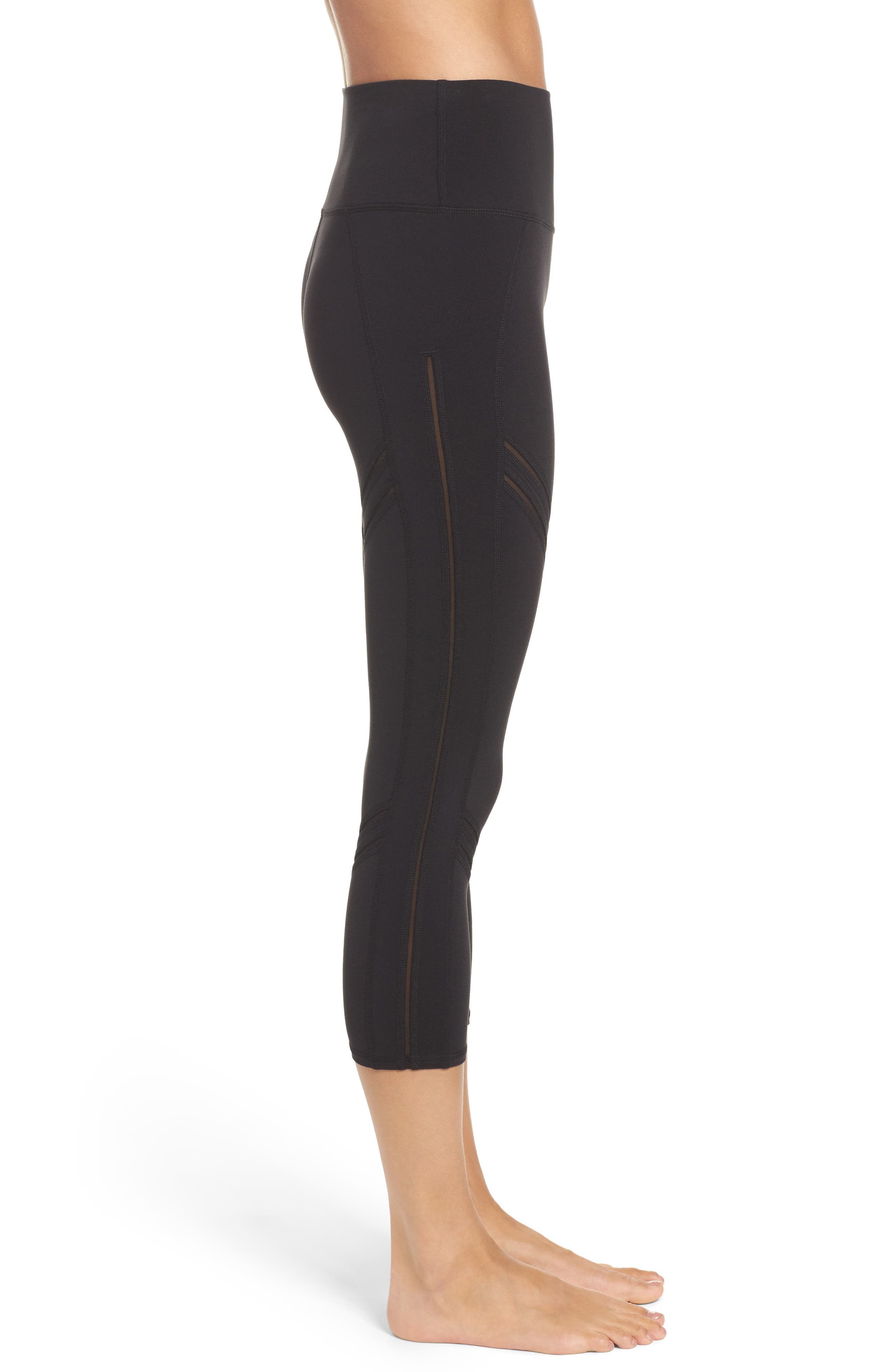 High Rise Cosmic Capri Leggings,                             Alternate thumbnail 3, color,                             001