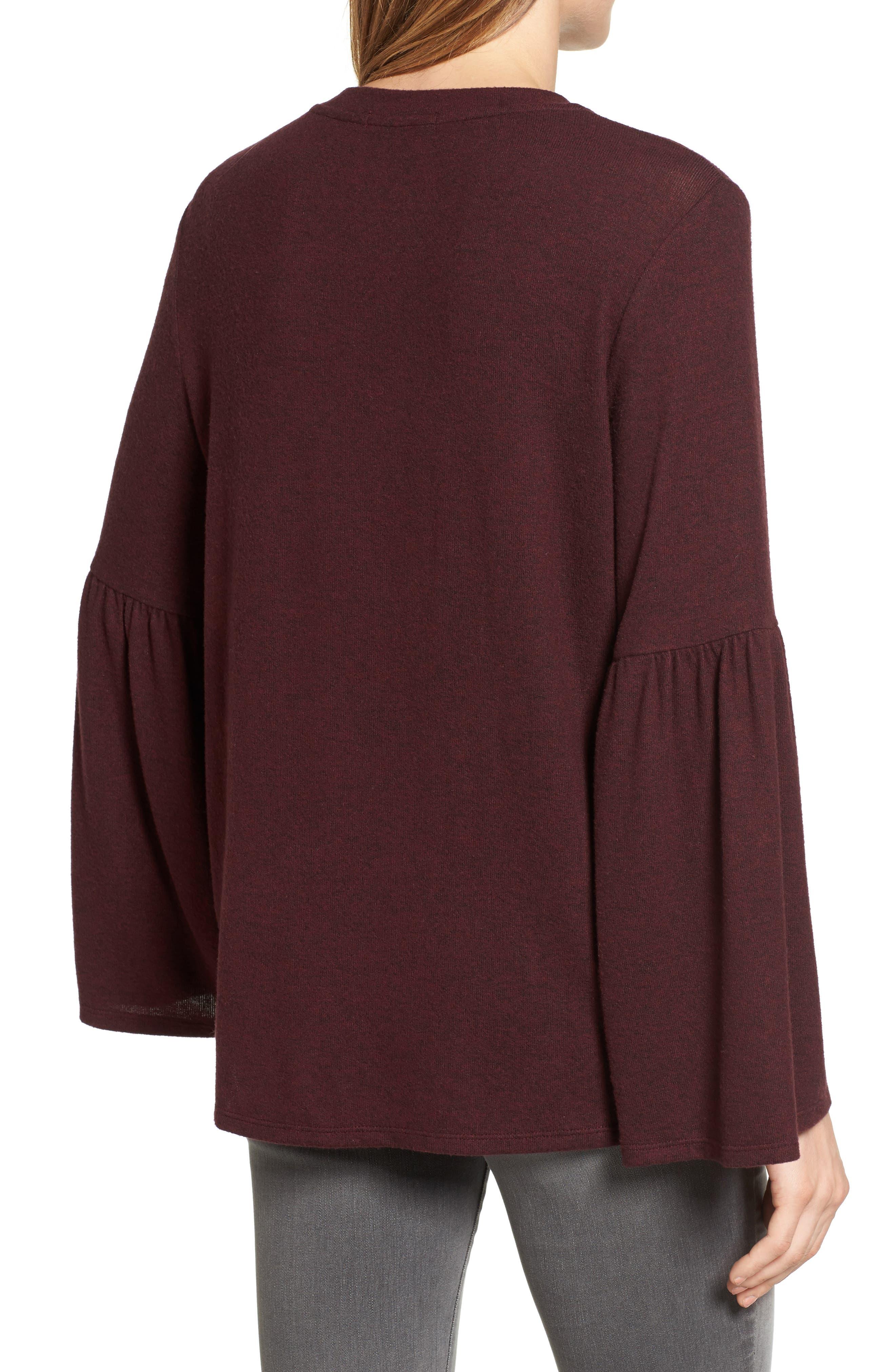 Bell Sleeve Cozy Fleece Pullover,                             Alternate thumbnail 24, color,