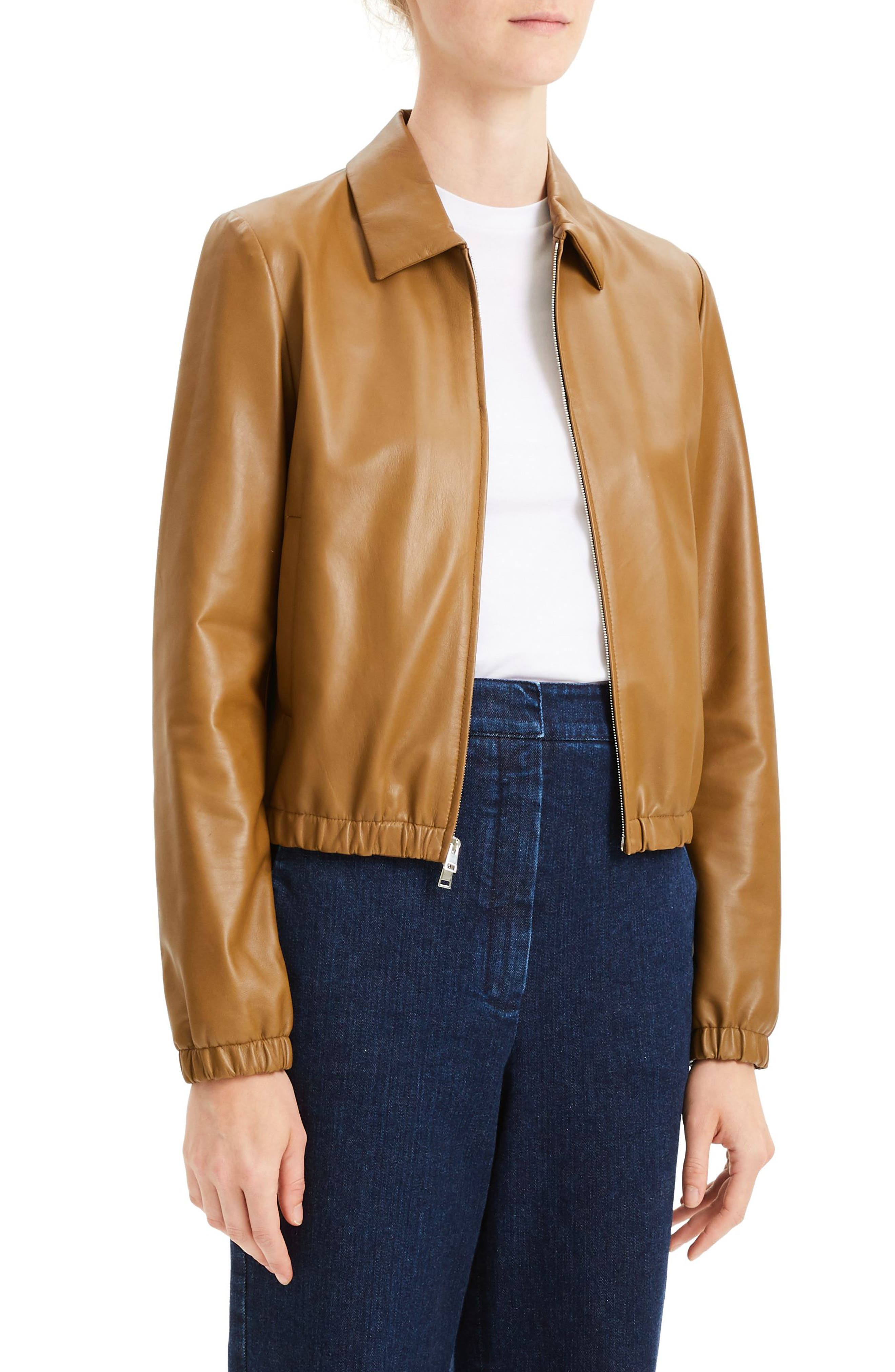 Leather Bomber Jacket,                             Alternate thumbnail 3, color,                             BROWN MOSS