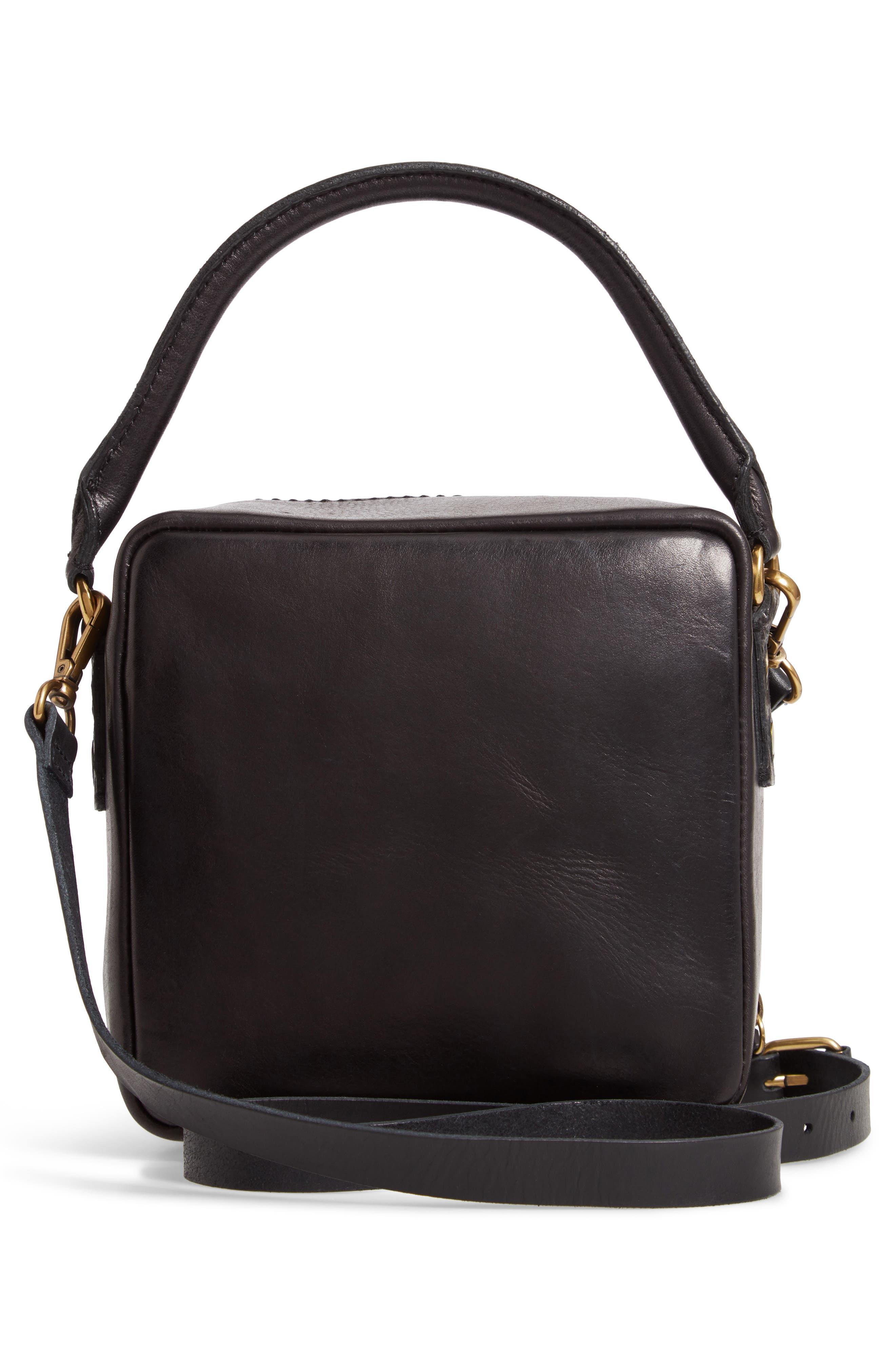The Square Satchel Bag,                             Alternate thumbnail 3, color,                             TRUE BLACK
