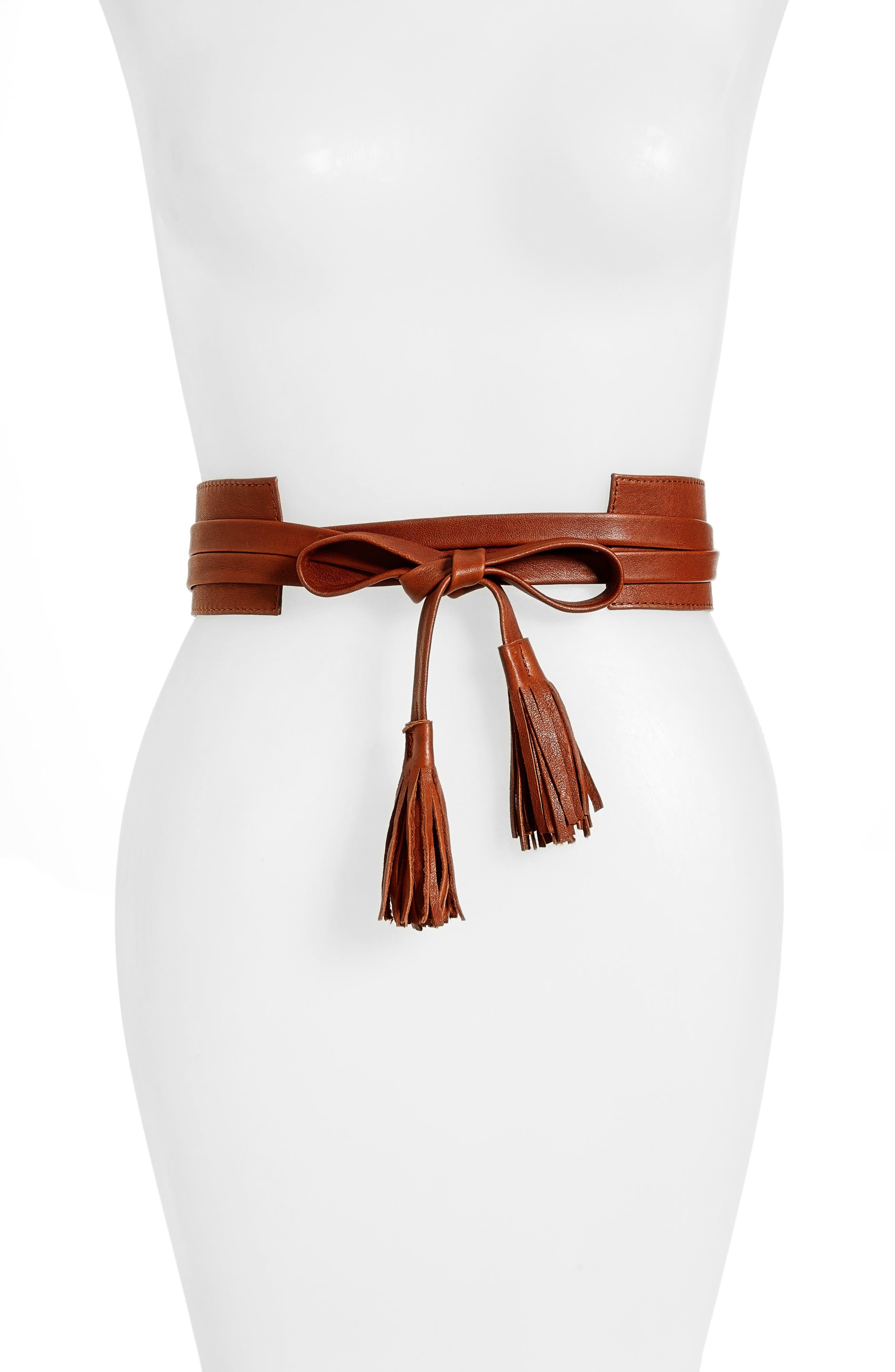 Bronco Leather Wrap Belt,                             Main thumbnail 1, color,                             COGNAC