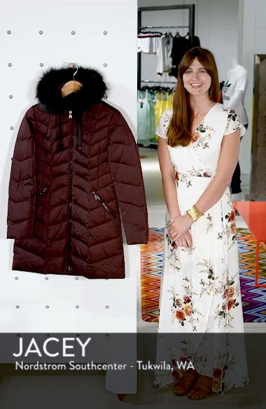 Gwen Chevron Down & Feather Faux Fur Coat, sales video thumbnail