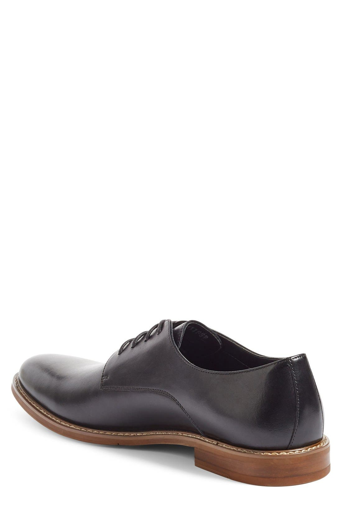 Everett Plain Toe Derby,                             Alternate thumbnail 3, color,                             BLACK LEATHER