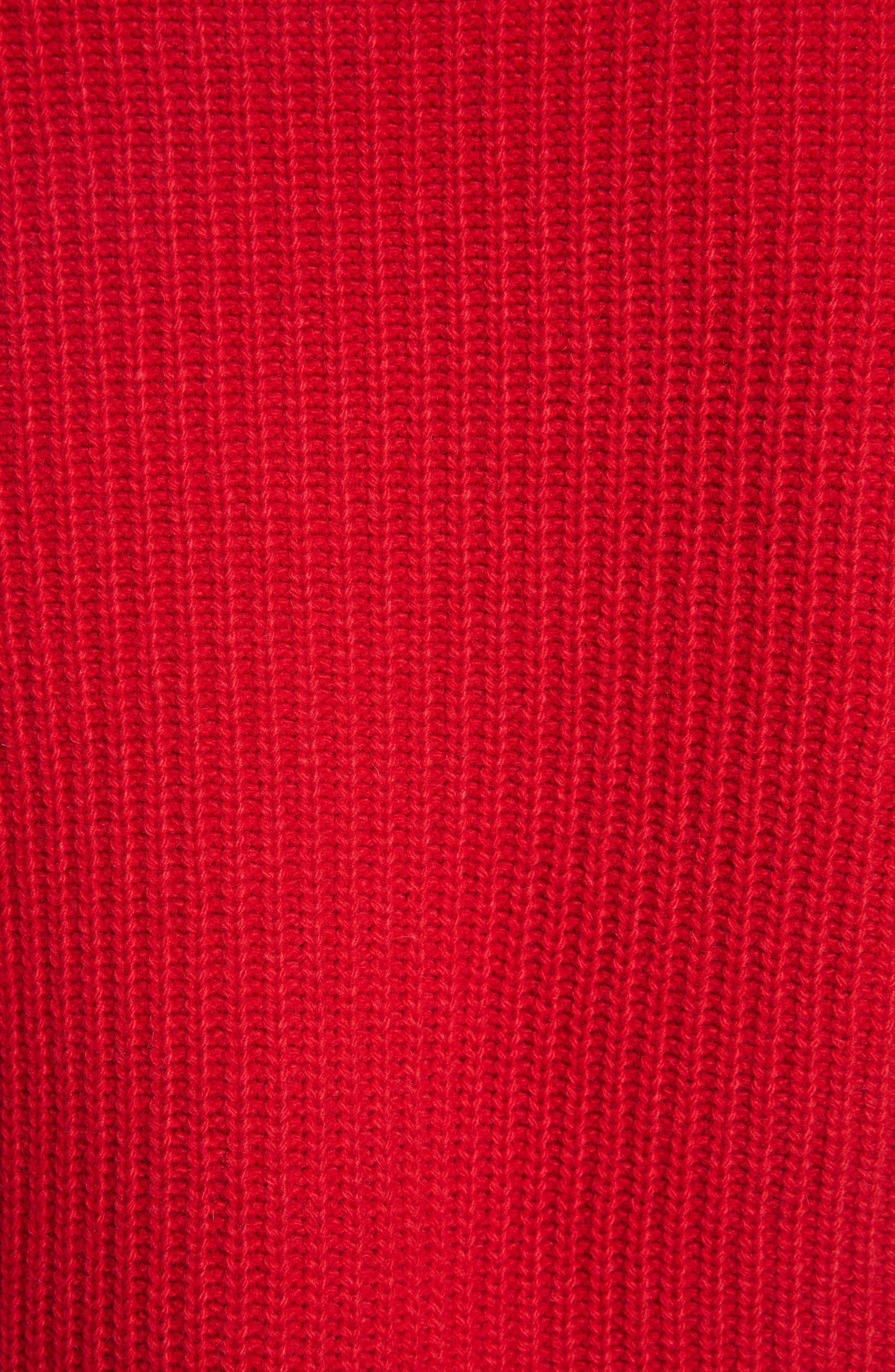 Kennedy Shaker Stitch Sweater,                             Alternate thumbnail 5, color,                             TRUE RED