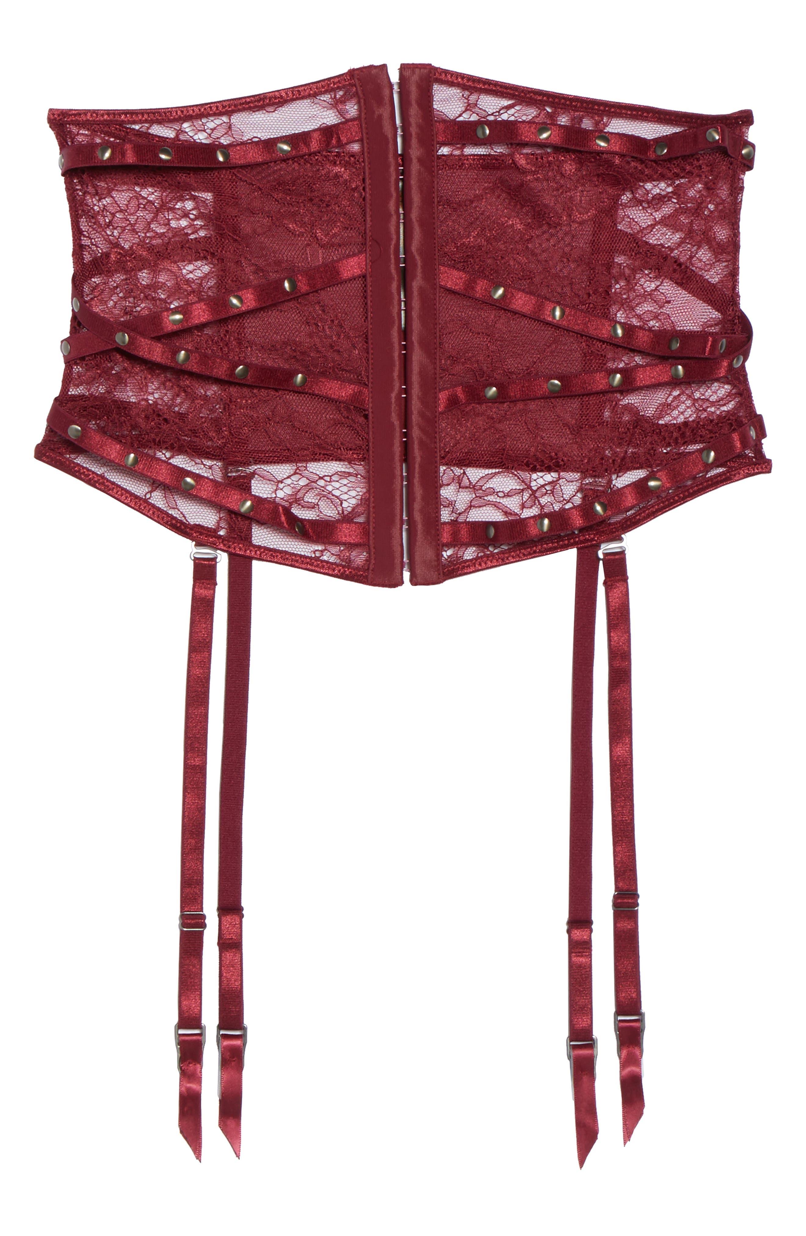 Karly Waspie Studded High Waist Garter Belt,                             Alternate thumbnail 6, color,