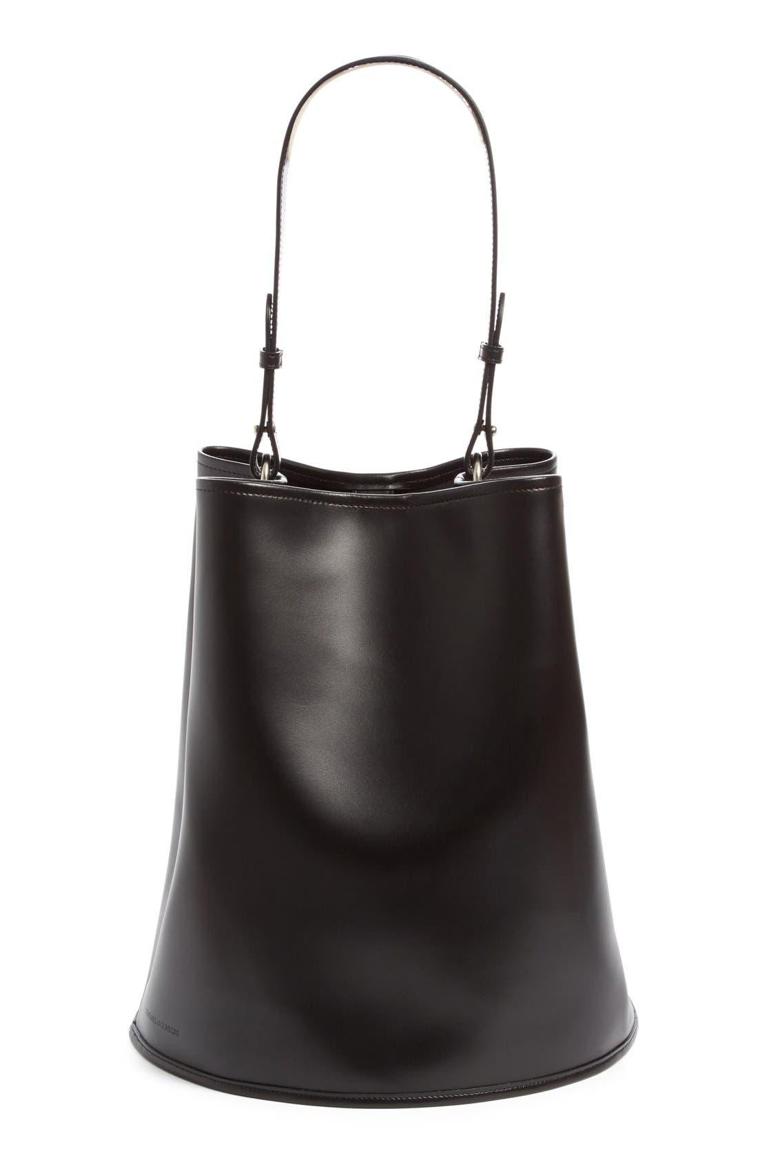 Large Calfskin Leather Bucket Bag,                         Main,                         color, 001