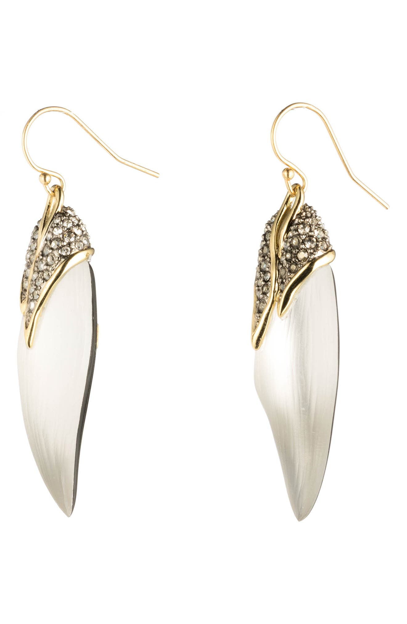 Crystal Encrusted Capped Feather Earrings,                             Alternate thumbnail 3, color,                             040