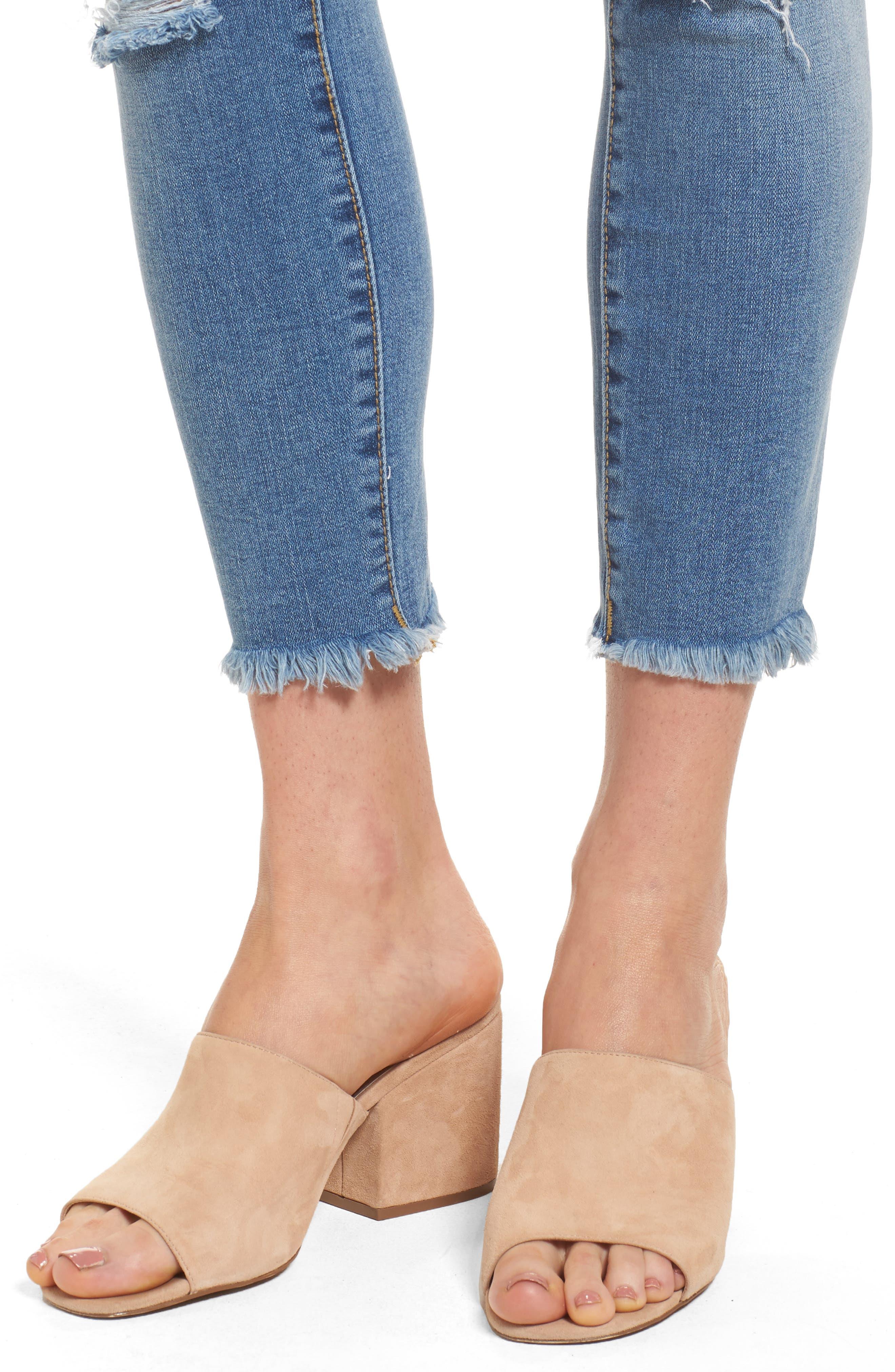 Frayed Hem Ankle Jeans,                             Alternate thumbnail 4, color,                             EDEN